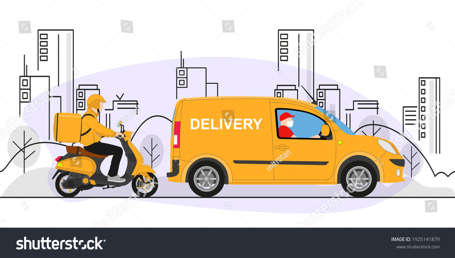 Online delivery service concept, online order tracking, delivery home and office. Warehouse, truck, scooter, delivery man in respiratory mask. Vector illustration. #1925141879