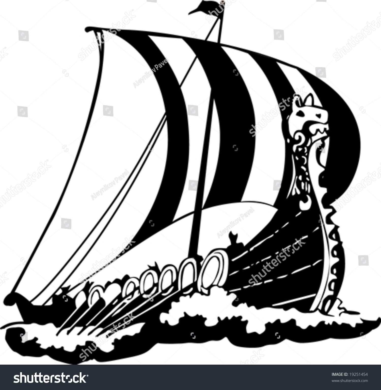 Vector Ship Of Vikings - 19251454 : Shutterstock