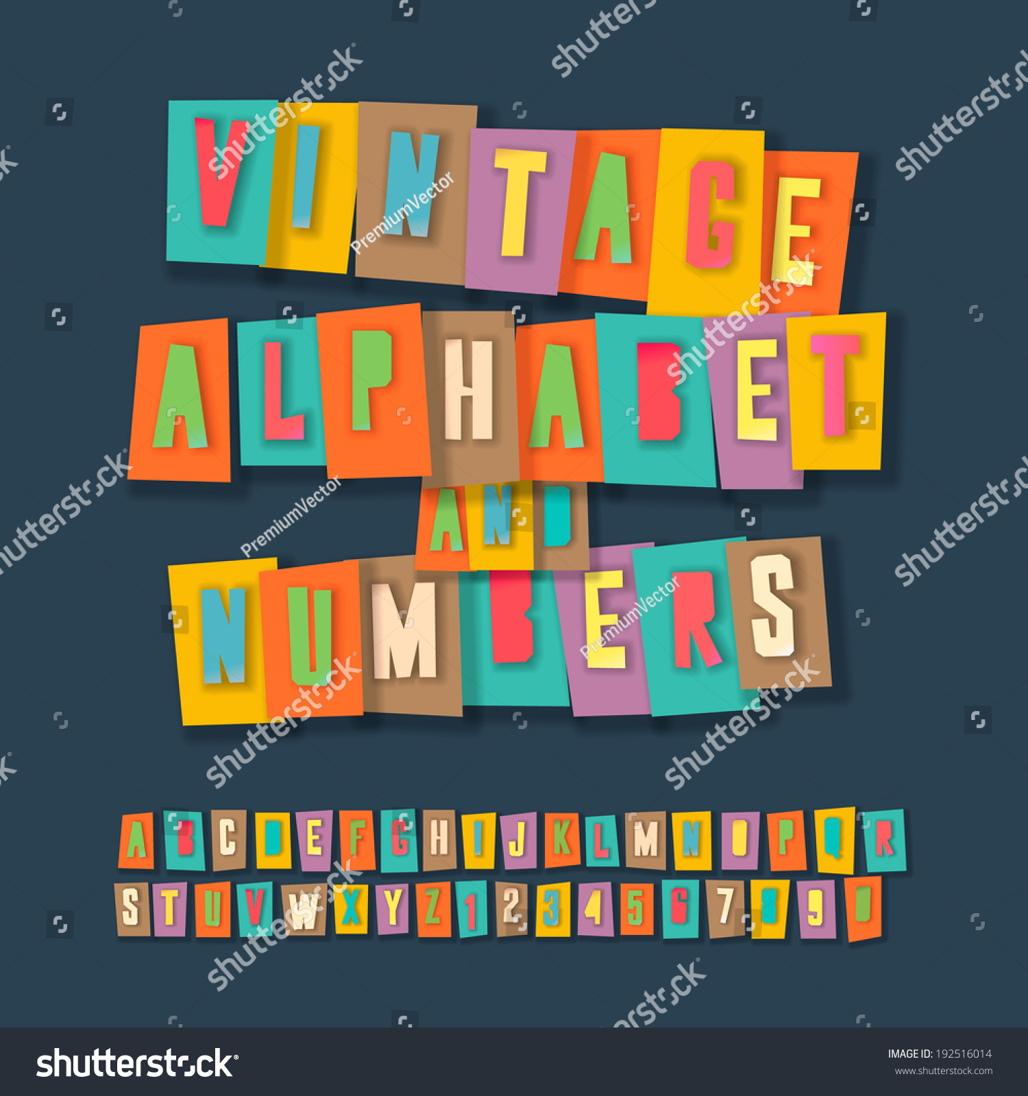 Vintage Alphabet Numbers Colorful Paper Craft Stock Vector Royalty