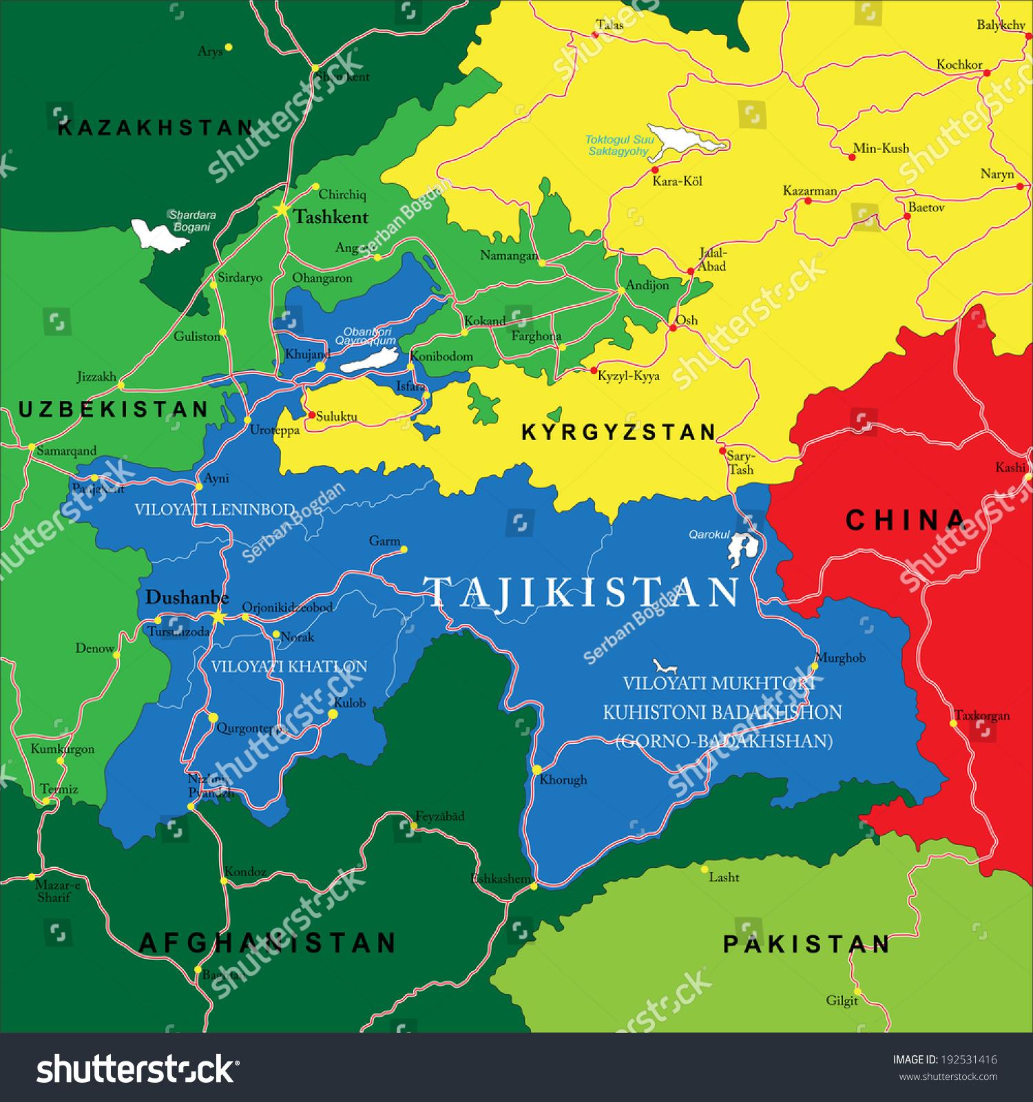 Tajikistan Map Stock Vector Shutterstock - Middle east map dushanbe
