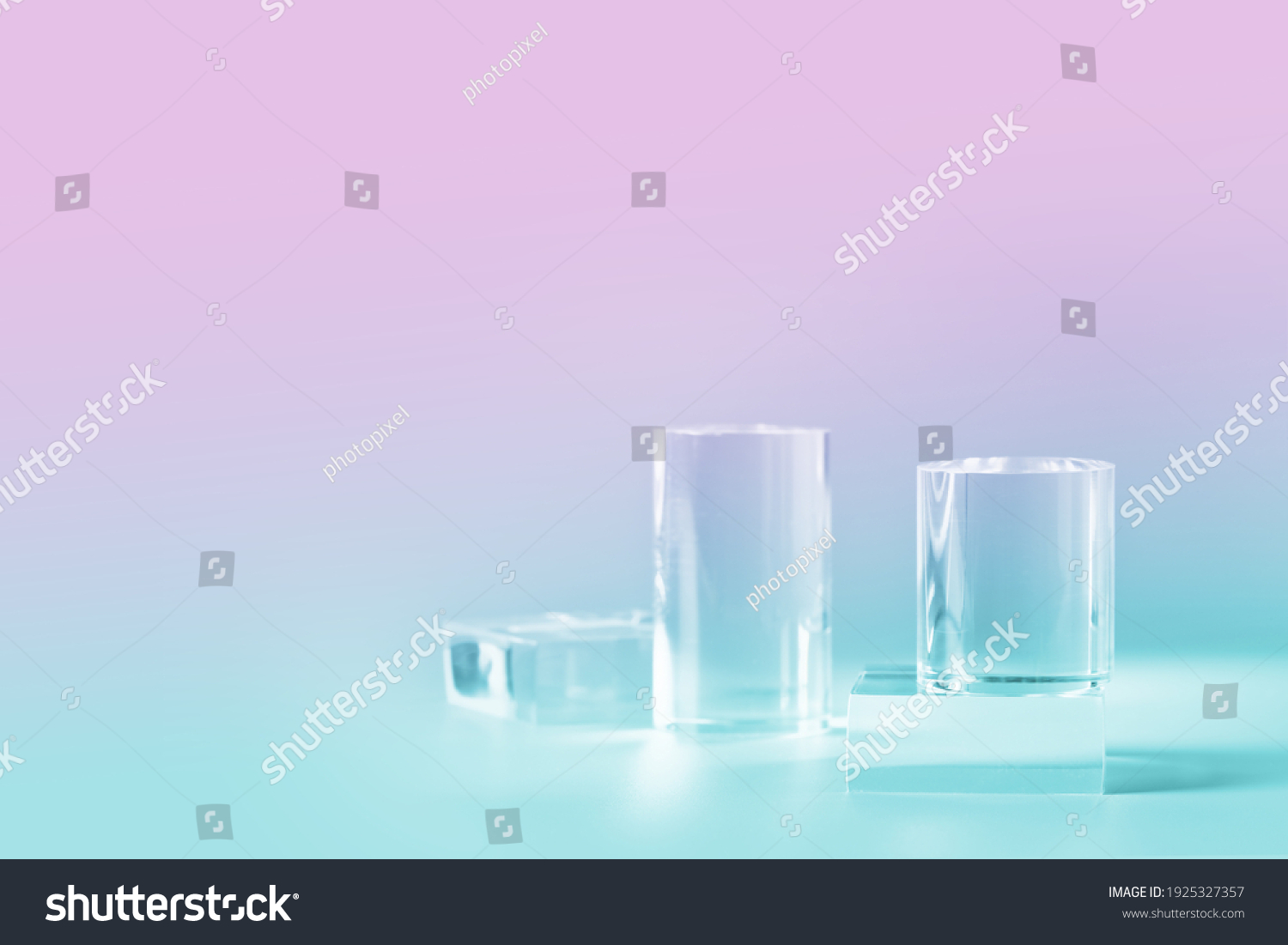 Acrylic empty podium for product presentation on nein pink and blue colored background, transparent geometric pedestals #1925327357