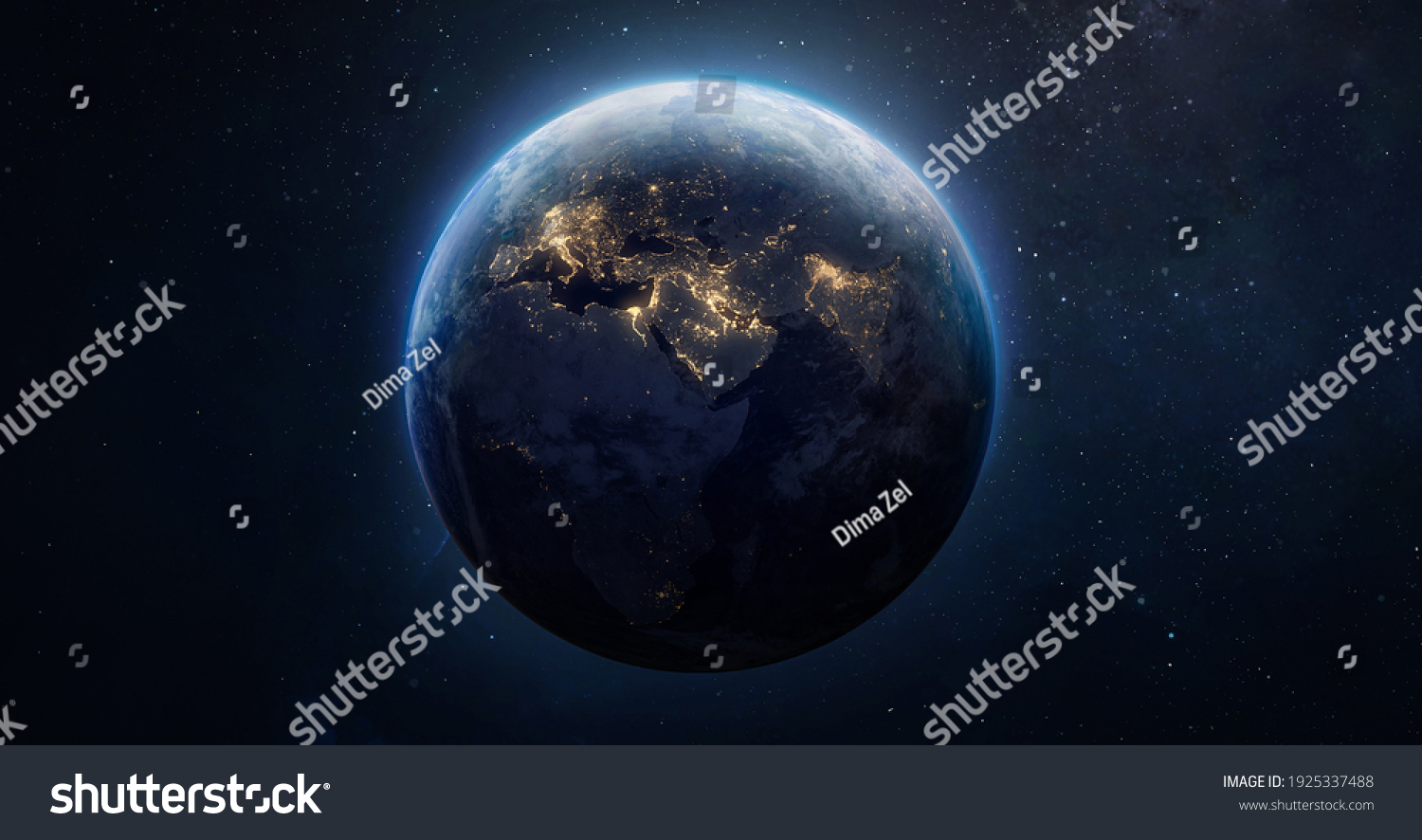 Sphere of nightly Earth planet in outer space. City lights on planet. Life of people. Solar system element. Elements of this image furnished by NASA #1925337488