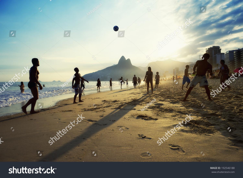 Carioca Brazilians Playing Altinho Beach Football Rio