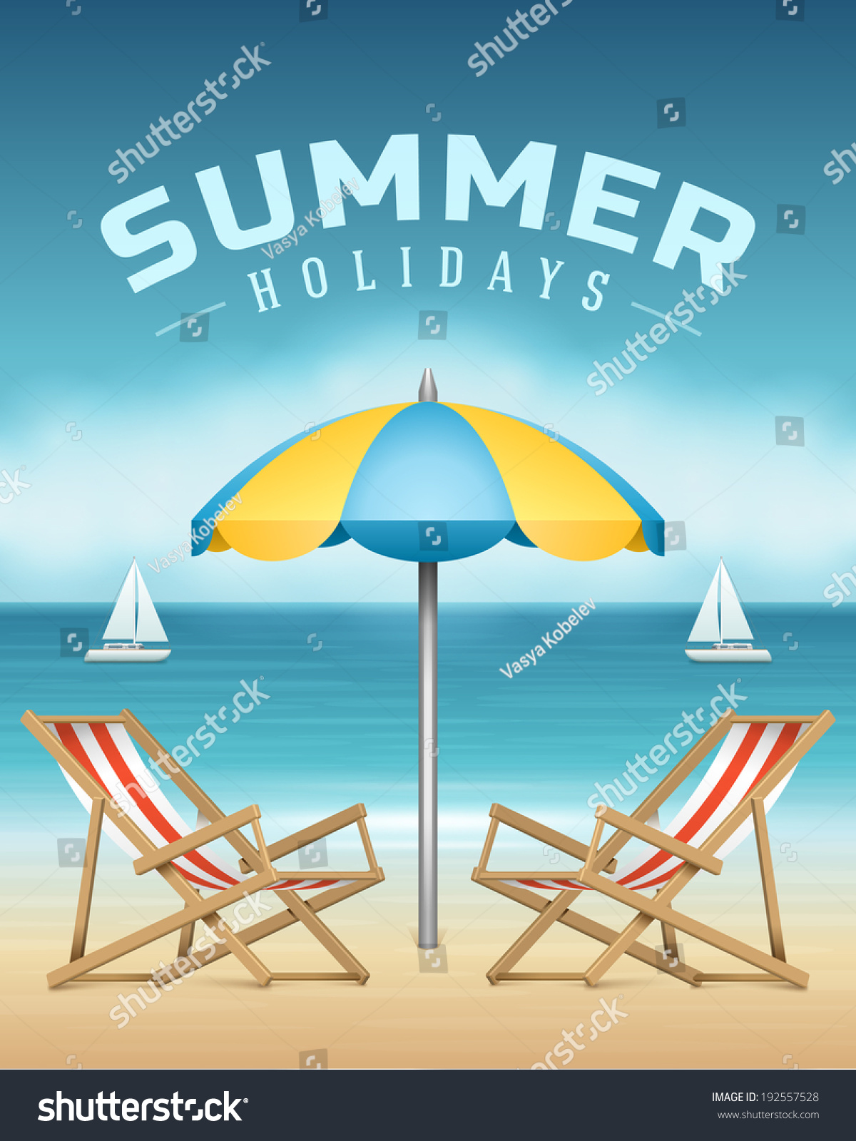 Beach sea chaise longue umbrella summer stock vector for Beach chaise longue