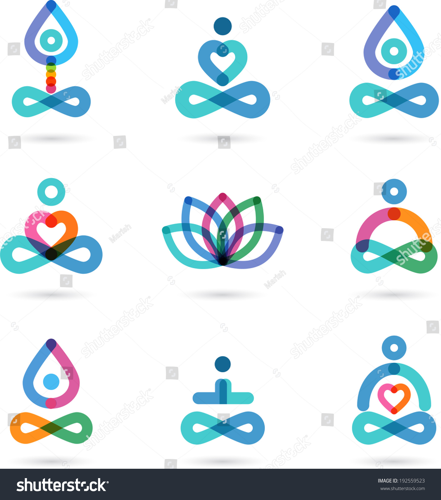 collection of yoga zen meditation icons colorful