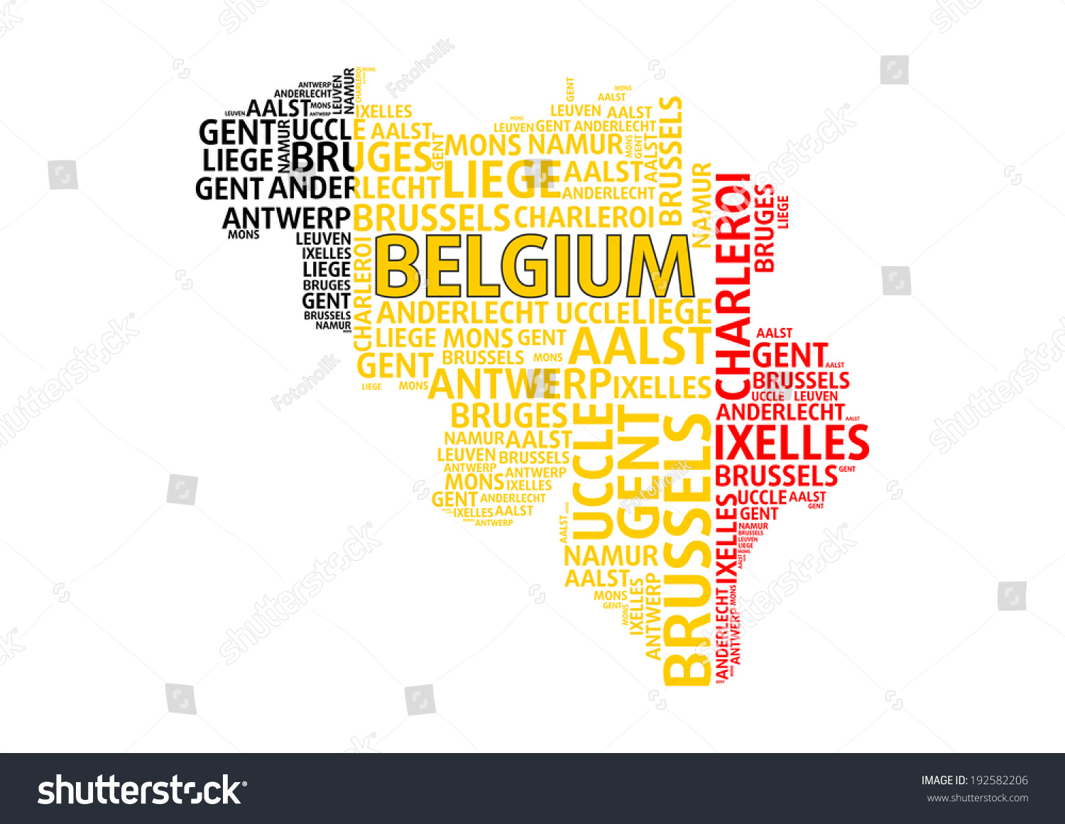 Belgium Map Word Cloud Concept Major Vector 192582206 – Map of Belgium with Cities
