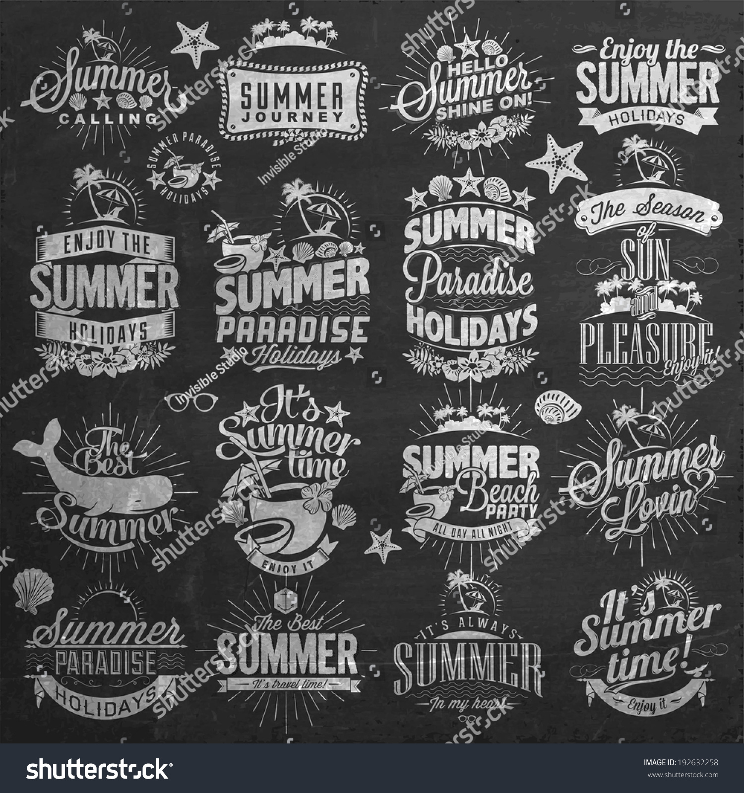 Chalkboard Designs Royalty Free Retro Summer Holidays Calligraphic 192632258 Stock