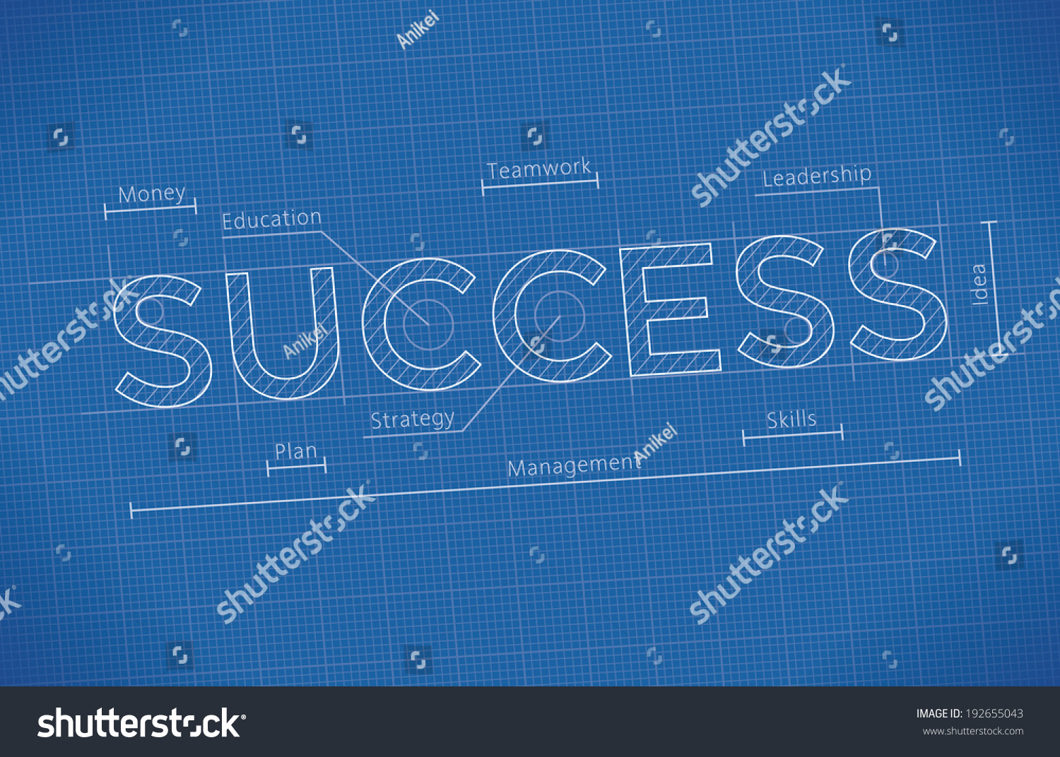Abstract business blueprint success word idea stock vector abstract business blueprint with success word idea business success elements leadership money malvernweather Choice Image