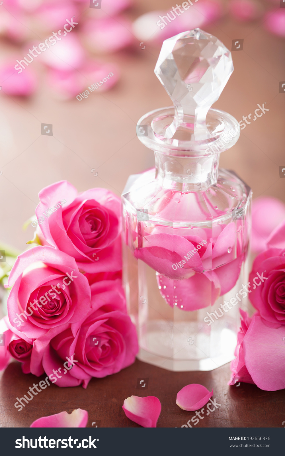 Perfume Bottle And Pink Rose Flowers Spa Aromatherapy Ez Canvas