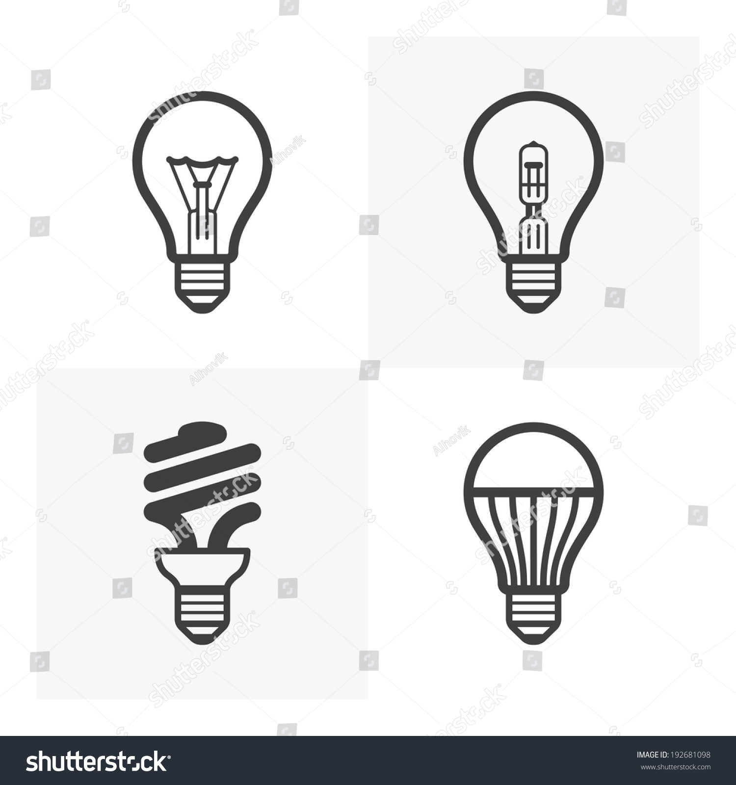 various light bulb icons standard and halogen. Black Bedroom Furniture Sets. Home Design Ideas