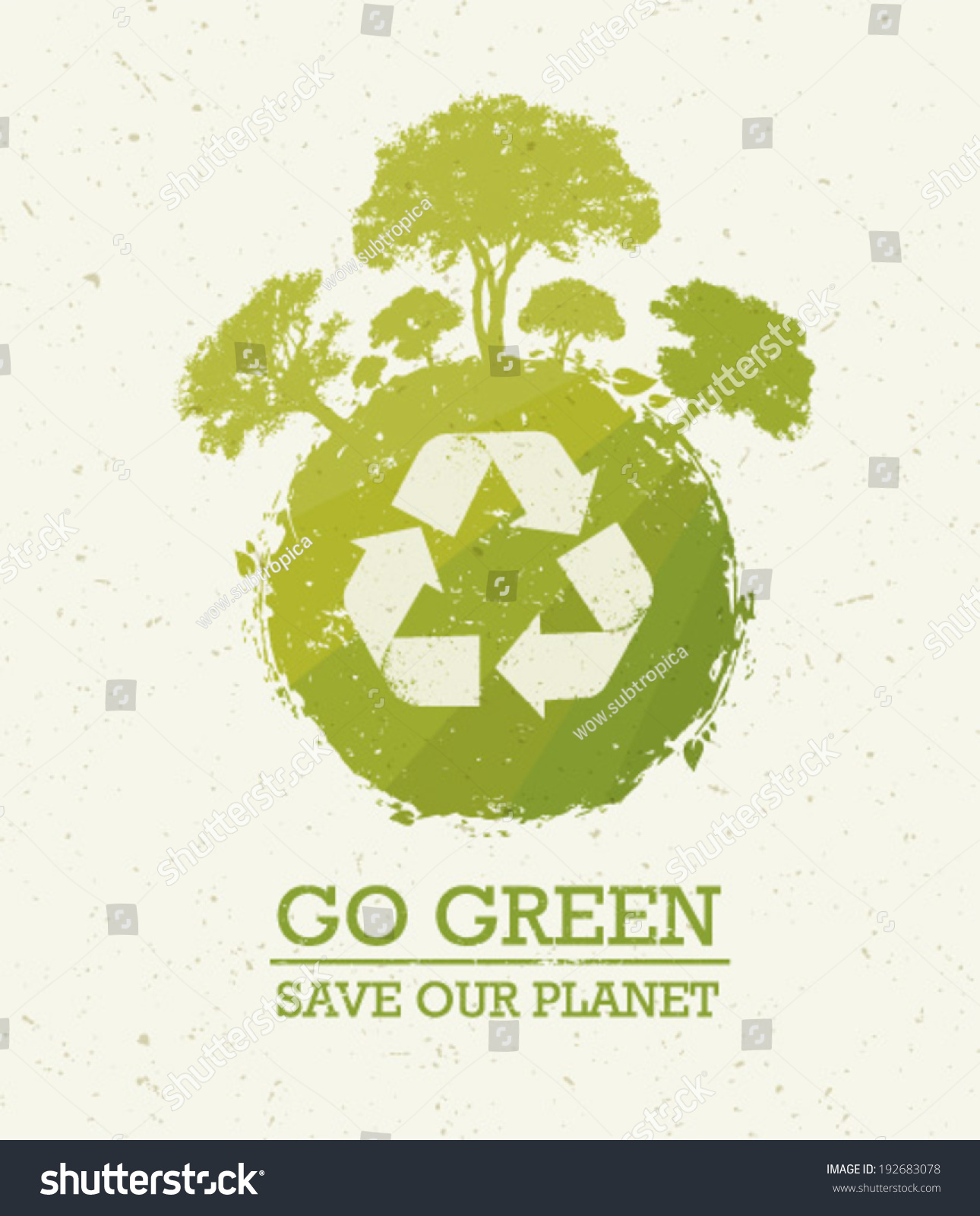 Go Green Save Our Planet Eco Stock Vector 192683078 Shutterstock