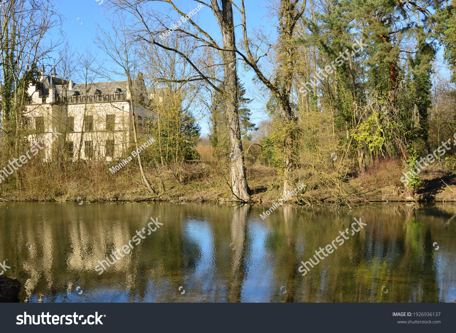 stock-photo-a-park-with-pond-and-trees-i