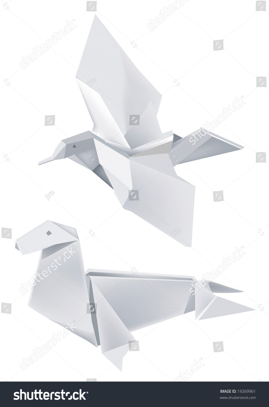 Illustration folded paper models seal bird stock vector 19269961 illustration of folded paper models seal and bird on white background vector illustration jeuxipadfo Gallery