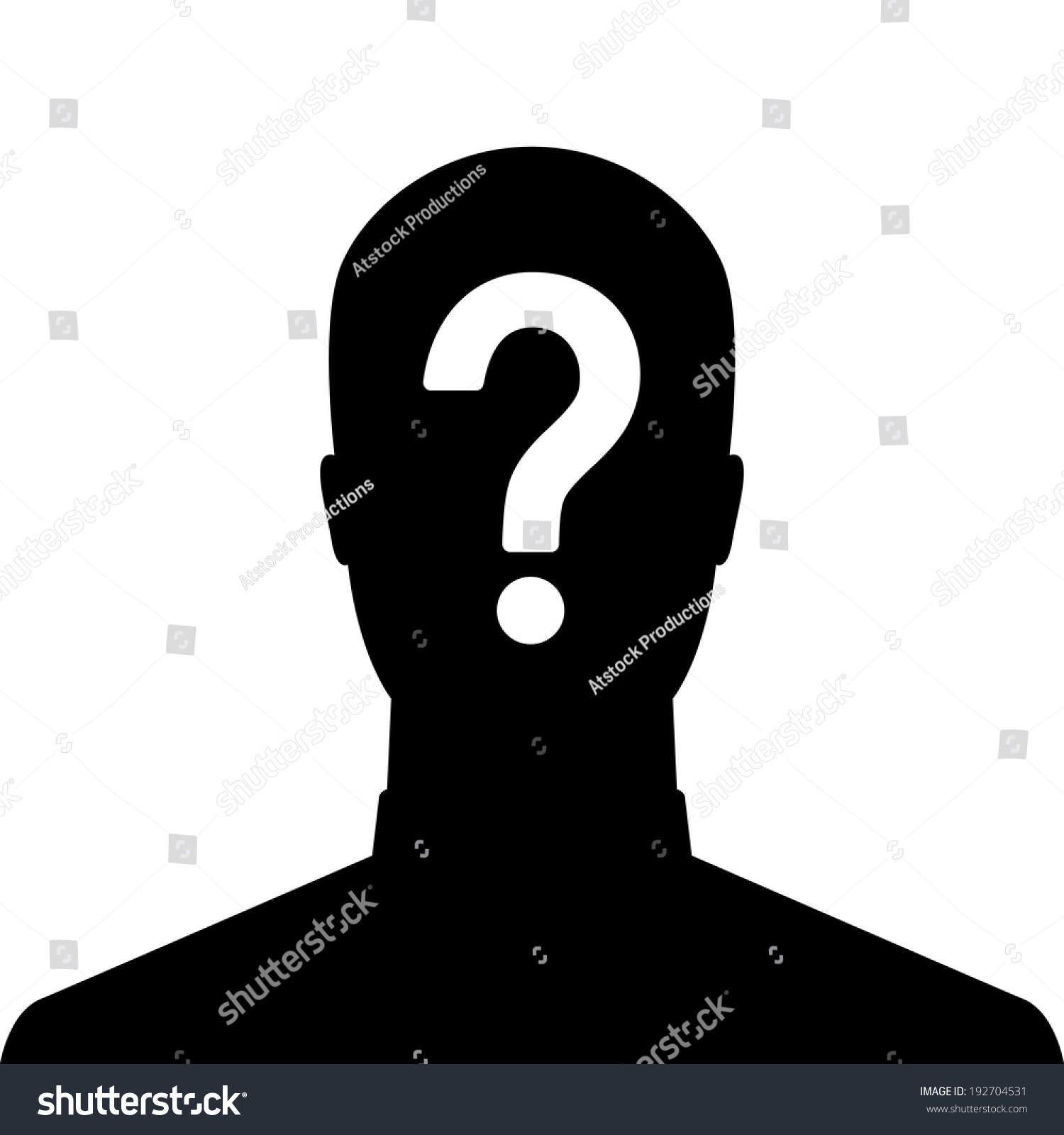 Man Silhouette Icon Question Mark Sign Stock Vector ...