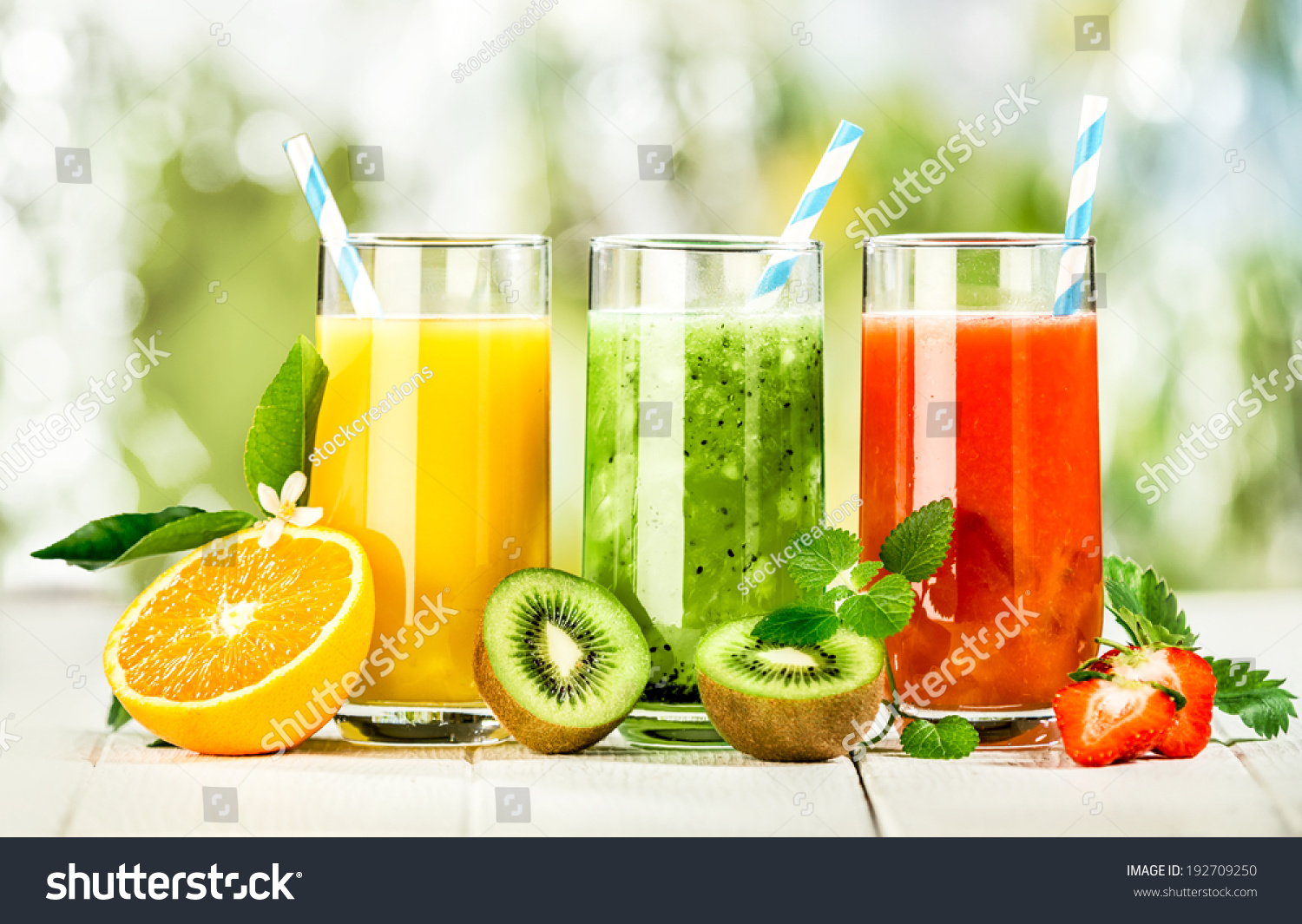 delicious array fresh fruit juices served stock photo edit now