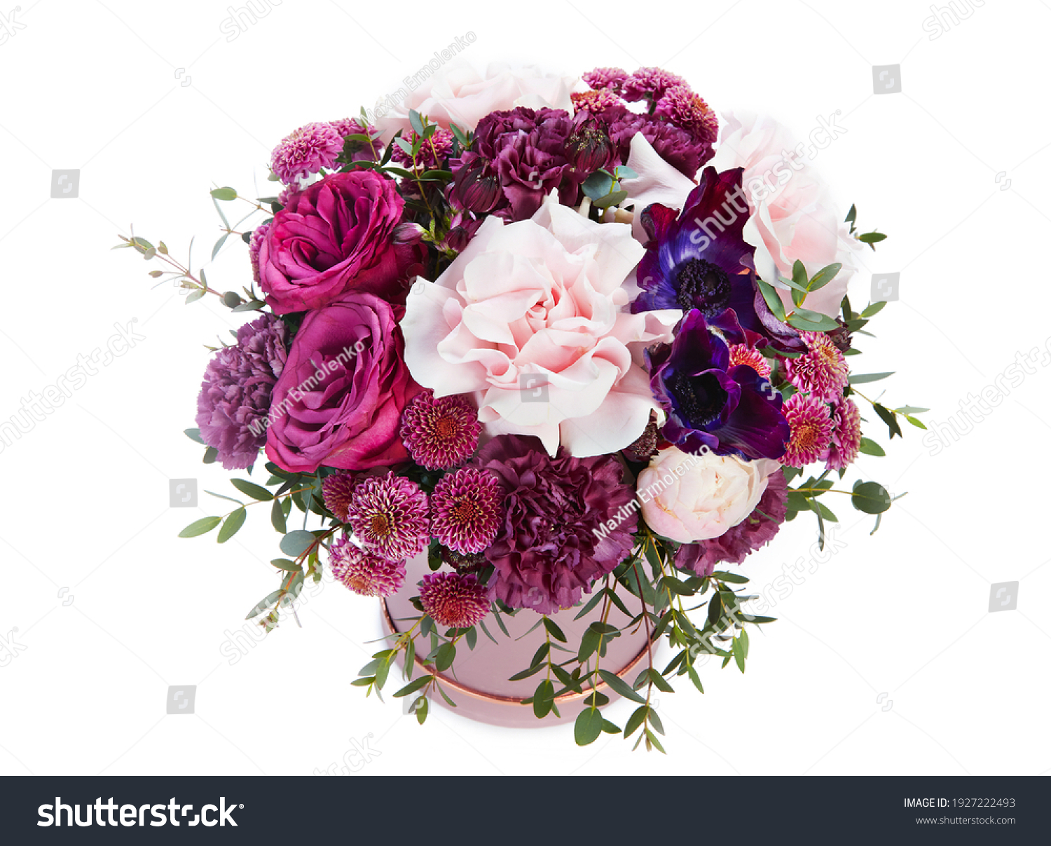 wedding bouquet  isolated on white. Fresh, lush bouquet of colorful flowers #1927222493