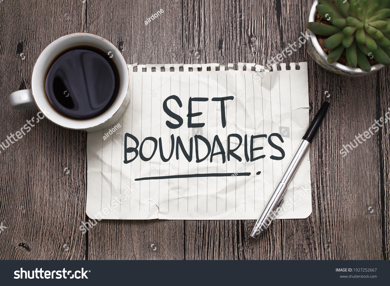 Set boundaries, text words typography written on paper against wooden background, life and business motivational inspirational concept #1927252667