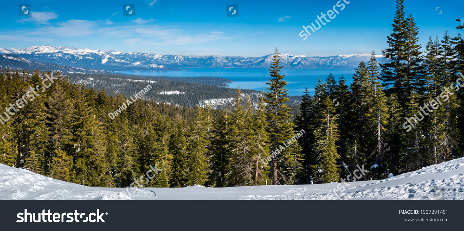 Panoramic view of the Sierra Nevada Mountains of California with Lake Tahoe in the background, from the (Olympic) Valley Ski Resort, between Truckee and Tahoe City.