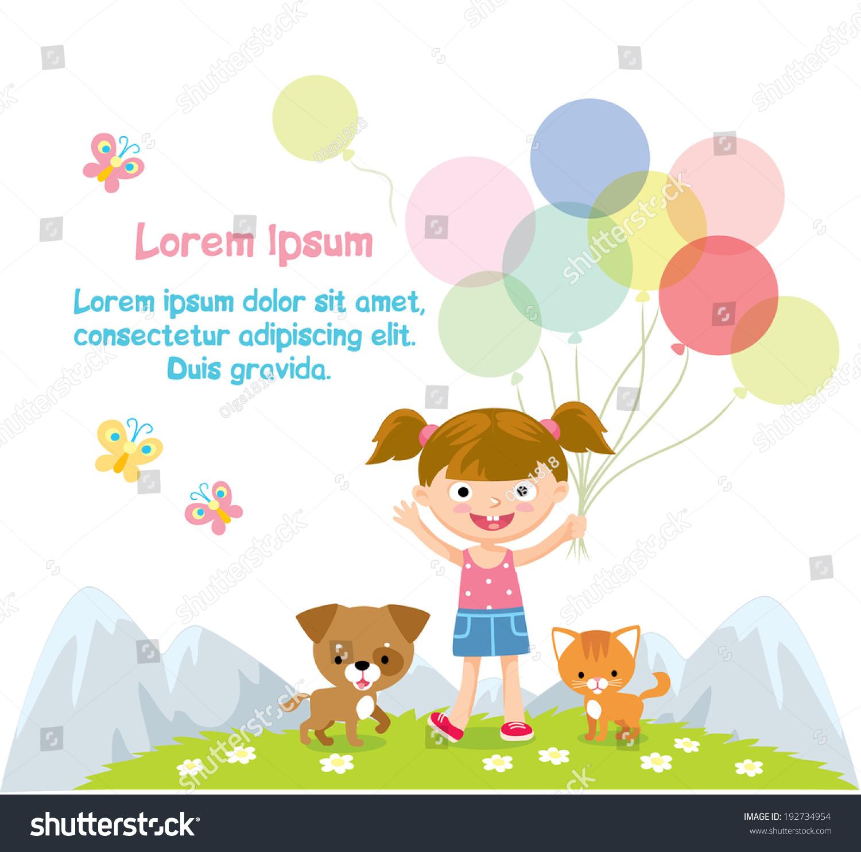 Happy Girl Balloons Stock Vector 192734954 - Shutterstock