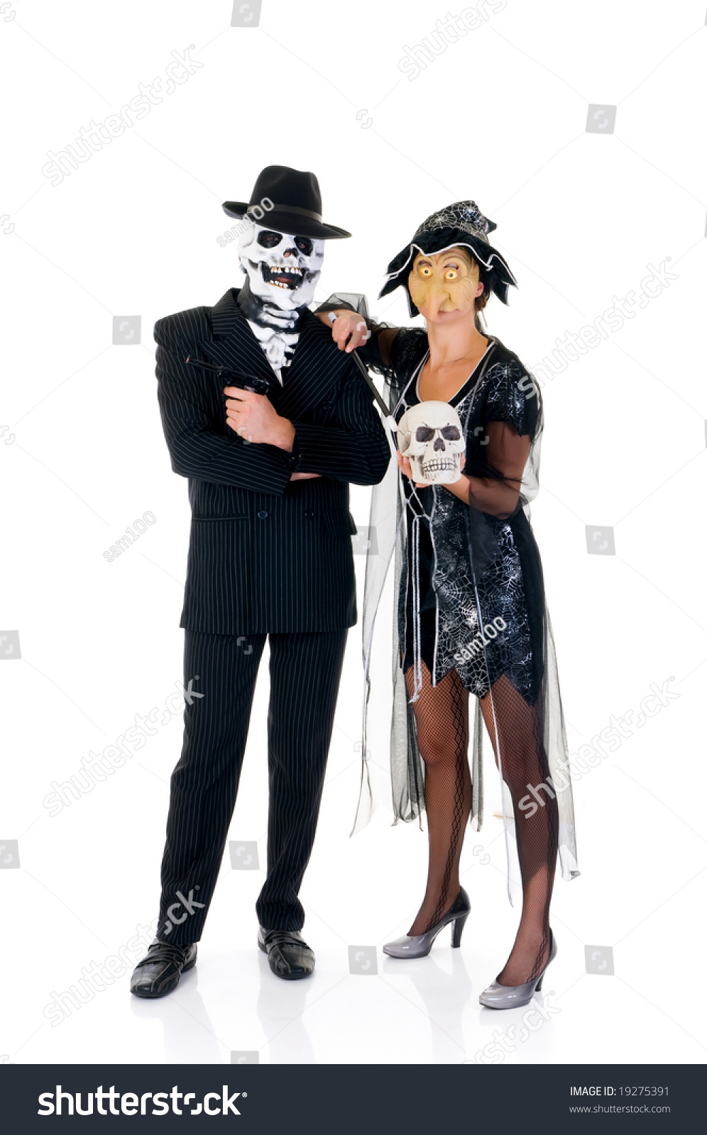 Attractive Young Halloween Couple, Mafia Suit And Witch Costume ...