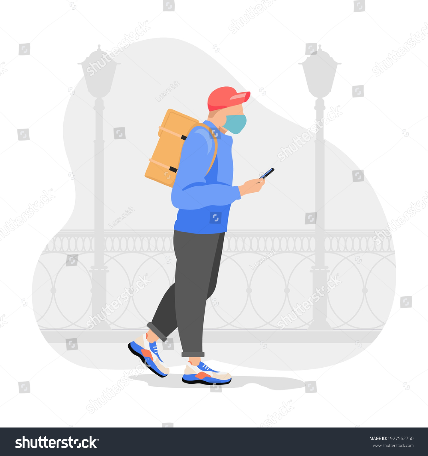 Food delivery man with orange backpack behind back is on his way to deliver food. Courier delivering food. Vector illustration. #1927562750
