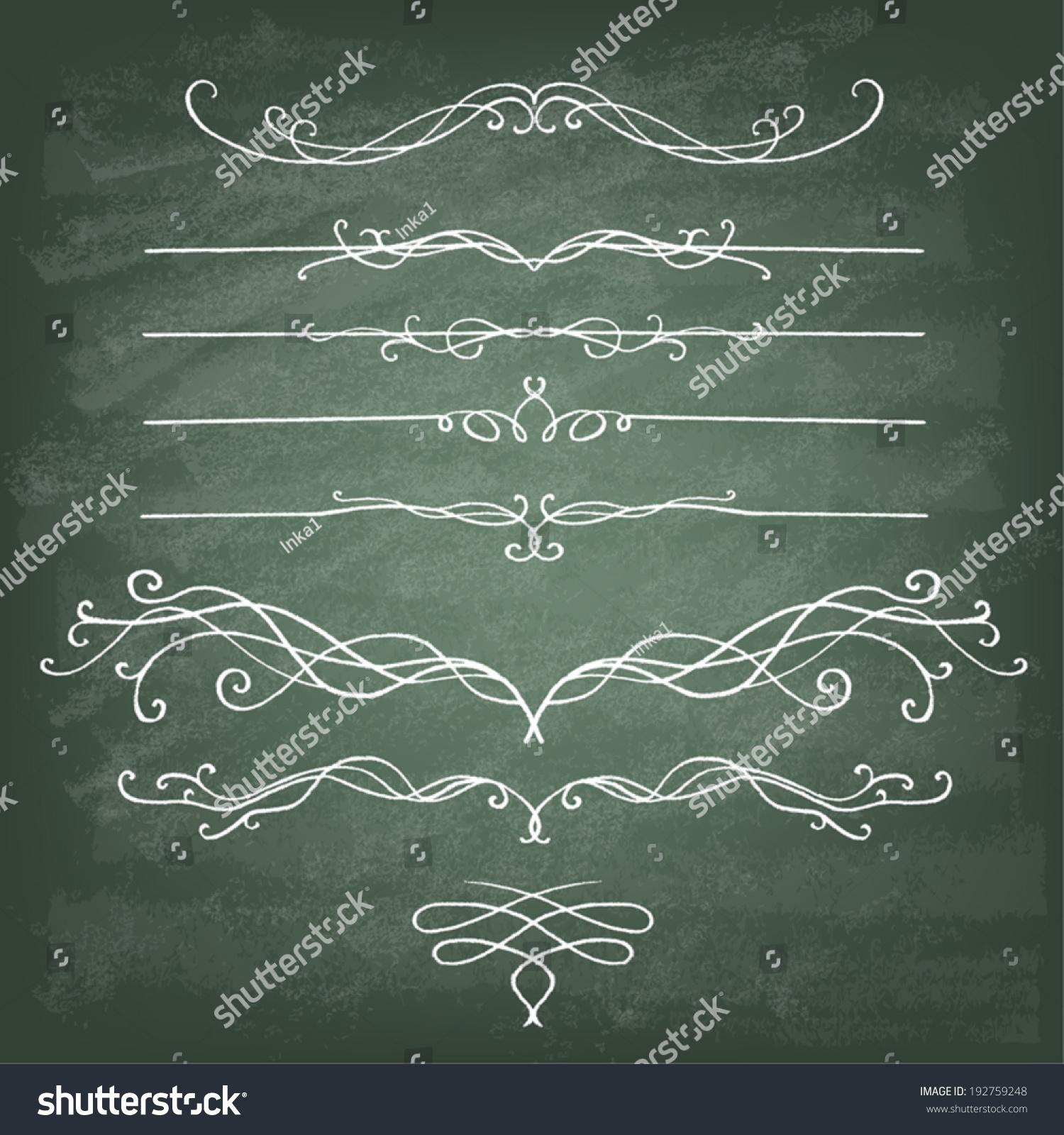 Vintage Calligraphy Chalkboard Design Elements Set Stock