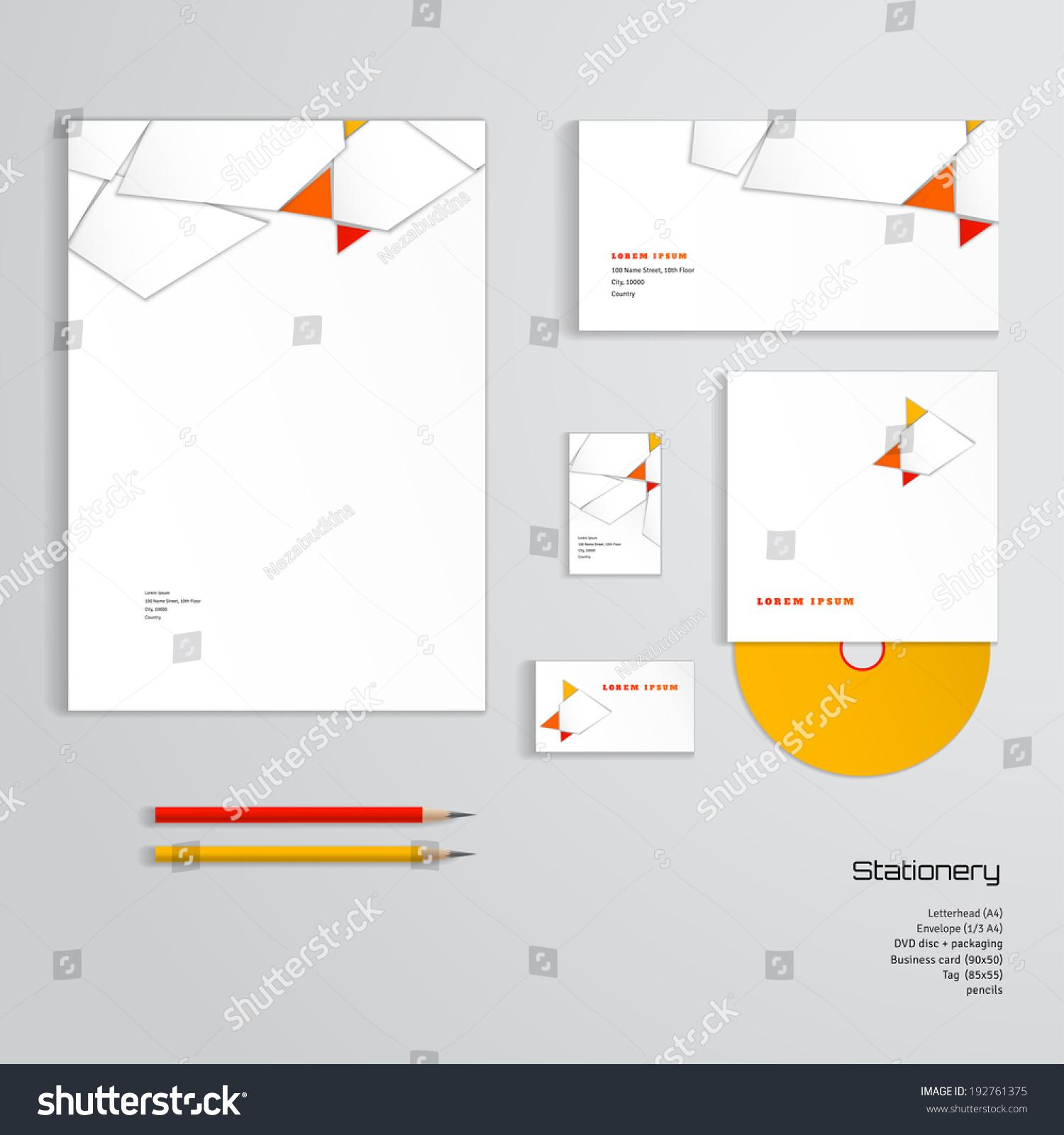 Vector identity templates letterhead envelope business stock vector vector identity templates letterhead envelope business card tag disc with packaging wajeb Choice Image