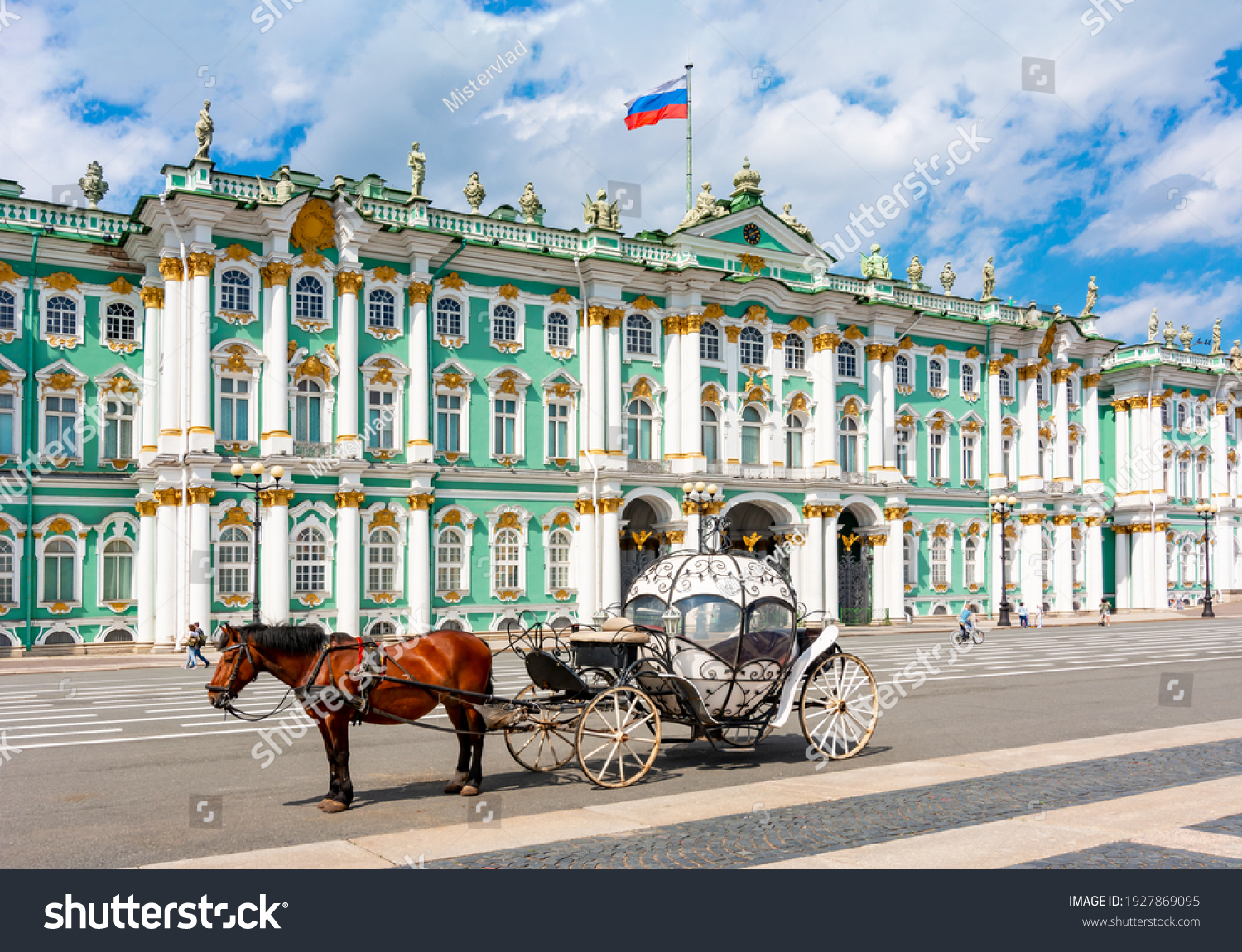 Horse carriage on Palace square and Hermitage museum at background, St. Petersburg, Russia #1927869095
