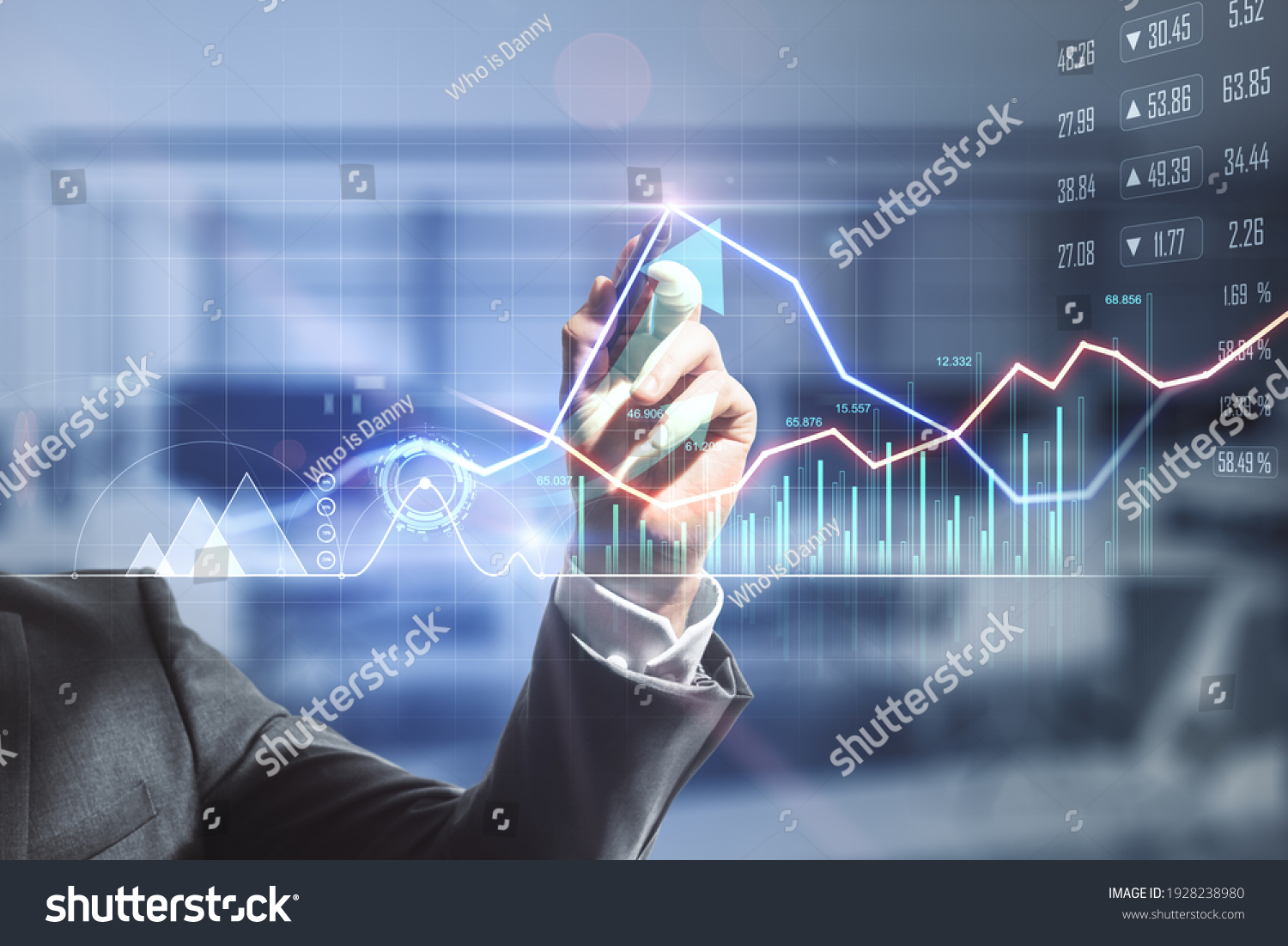 Businessman hand writing on digital screen with financial trade market graphs, diagram and forex chart. Double exposure #1928238980