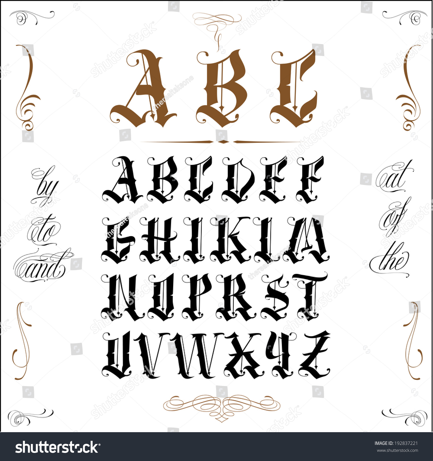 tattoo letter fonts vector lettering 192837221 12274