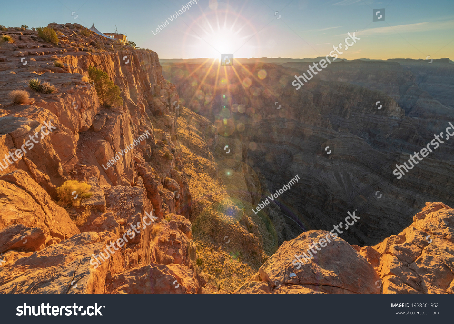 Beautiful landscapes of the Grand Canyon, an amazing view of the sunset over the red-orange rocks that are millions of years old. USA, Arizona. #1928501852