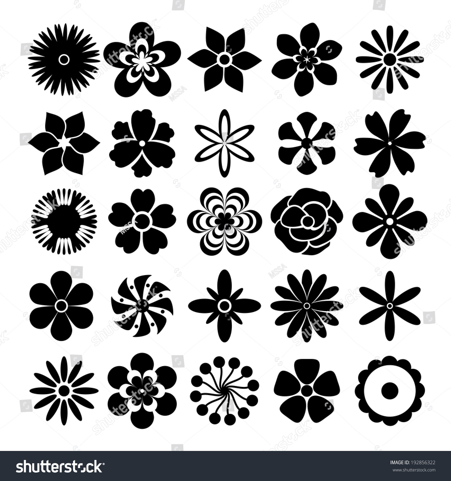 Black White Flowers Set Twentyfive Different Stock Illustration