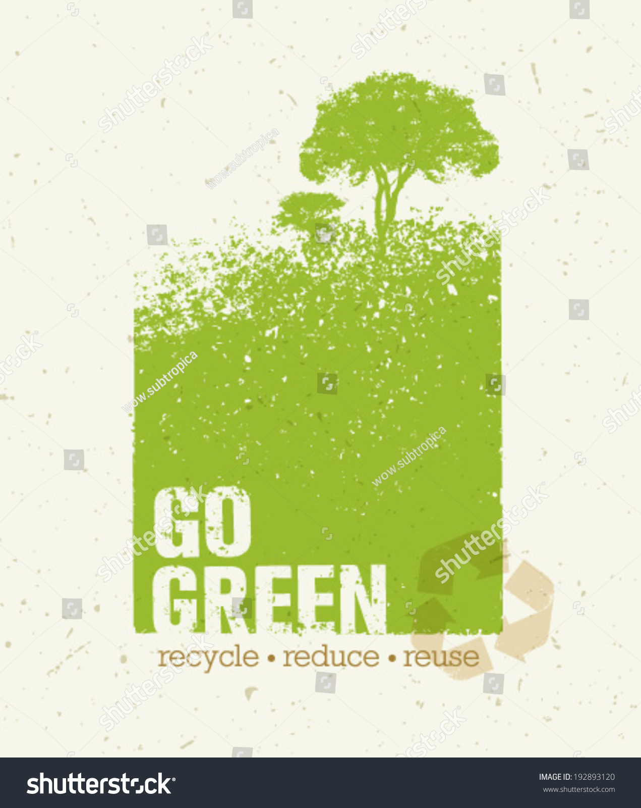 Go Green Recycle Reduce Reuse Eco Stock Vector 192893120 ...
