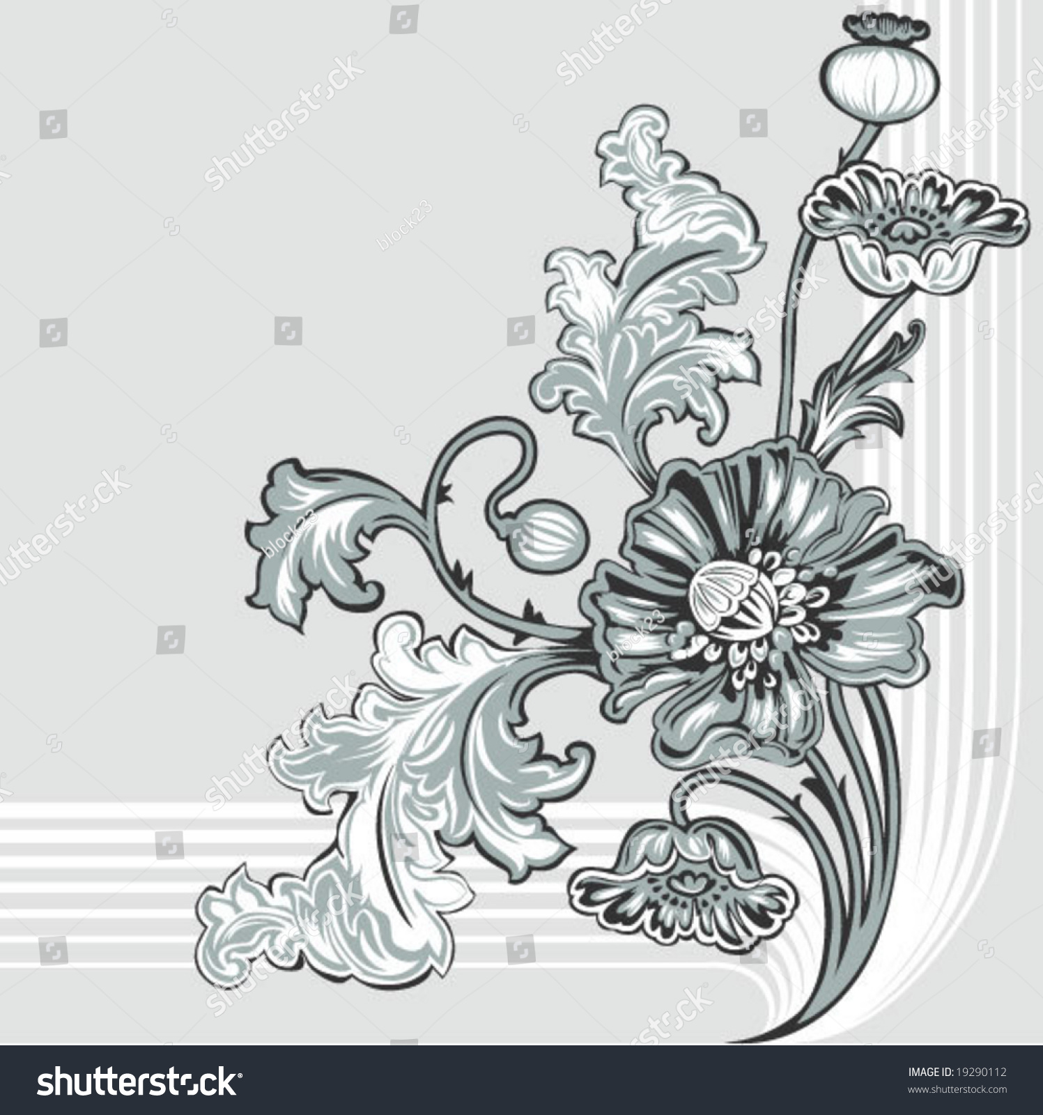 nouveau poppy decor element stock vector 19290112