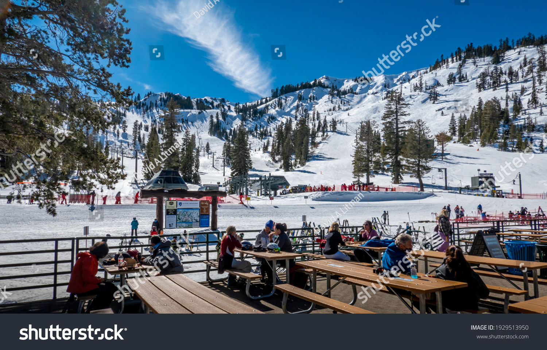 Alpine Meadows, California - February 22, 2021:  The Alpine Meadows Ski Resort, in the Sierra Nevada Mountain range of California, is a short drive from Lake Tahoe.