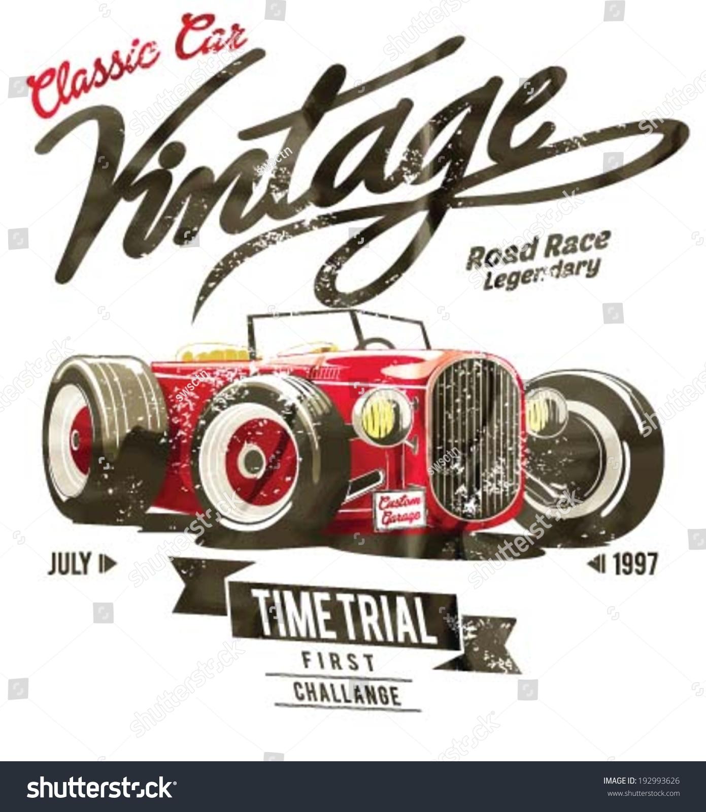 Racing Car Graphic Art Poster: Vector Old School Race Car Poster Stock Vector 192993626
