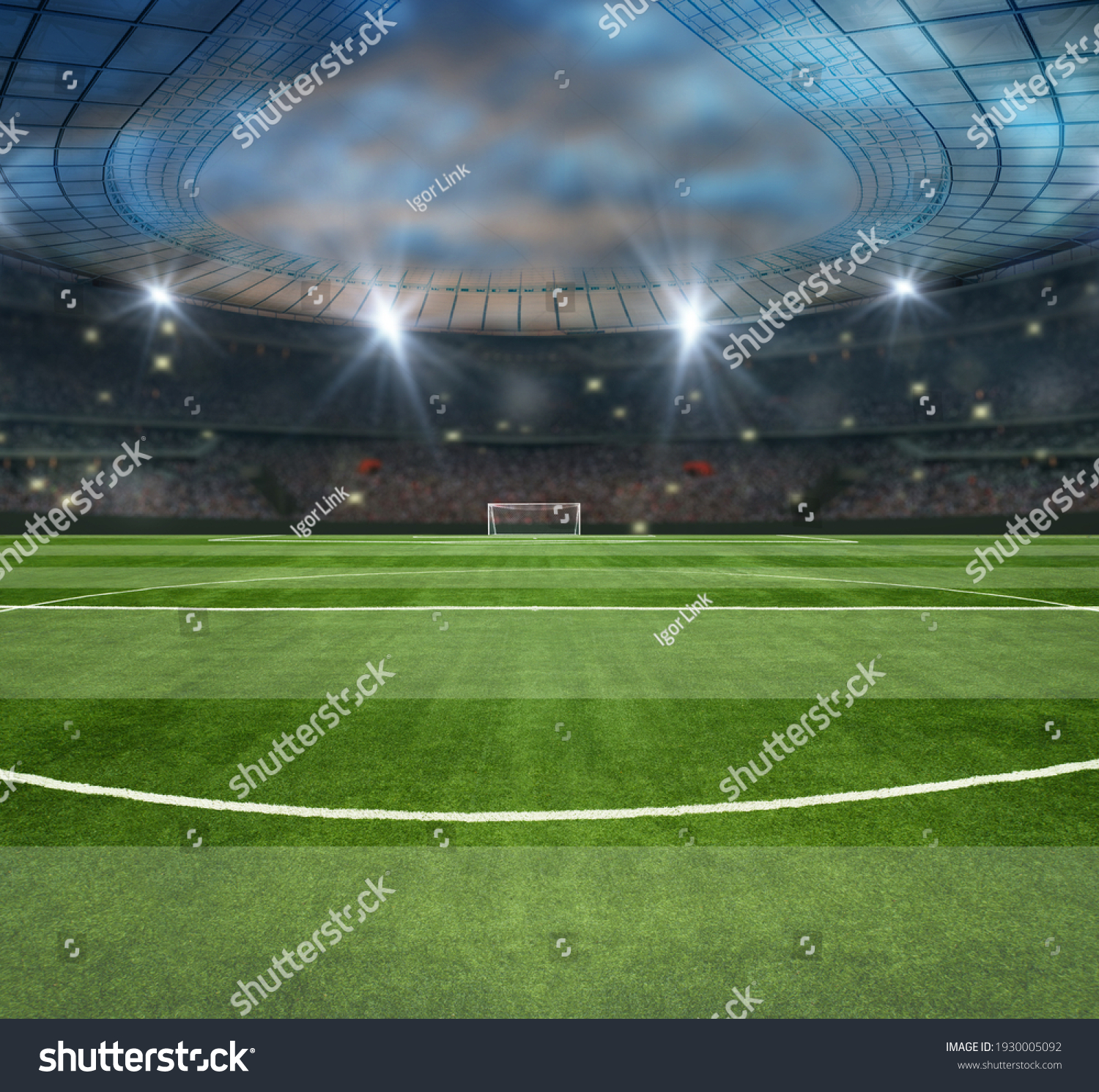 green field in soccer stadium. ready for game in the midfield #1930005092