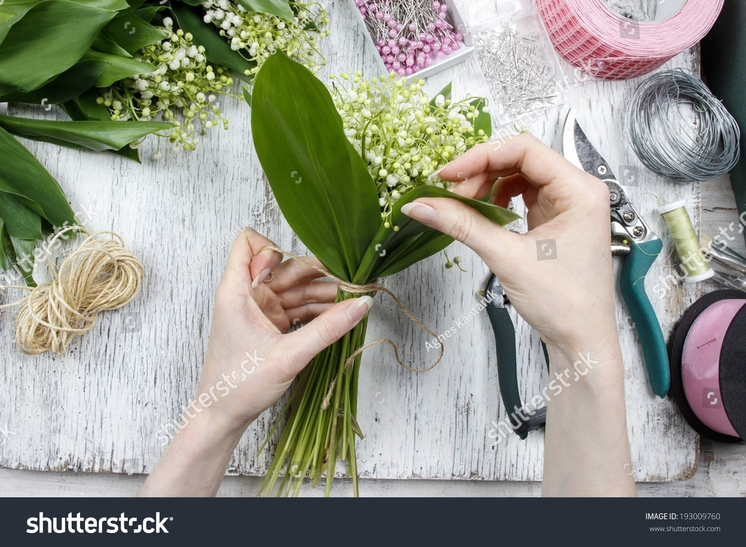 Florist Work Woman Making Bouquet Lily Stock Photo Edit Now