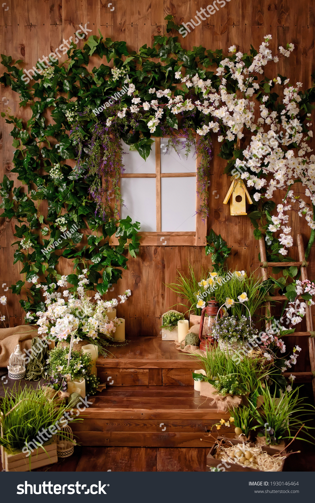 Spring backdrop.Backdrops for photo studio with spring decor for kids and family photo sessions.Selective focus. #1930146464
