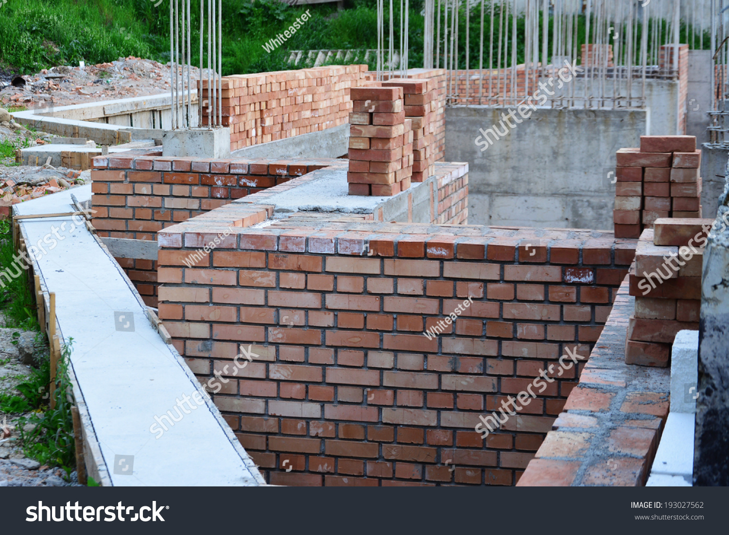 Retaining Wall Red Brick Masonry Reinforced Stock Photo