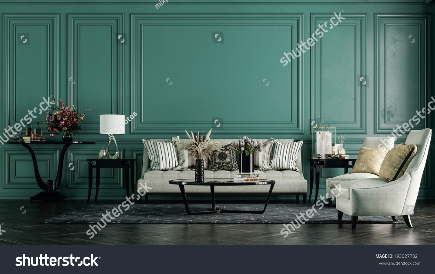 Modern interior design for home, office, interior details, upholstered furniture on the background of a dark green classic wall. #1930277321