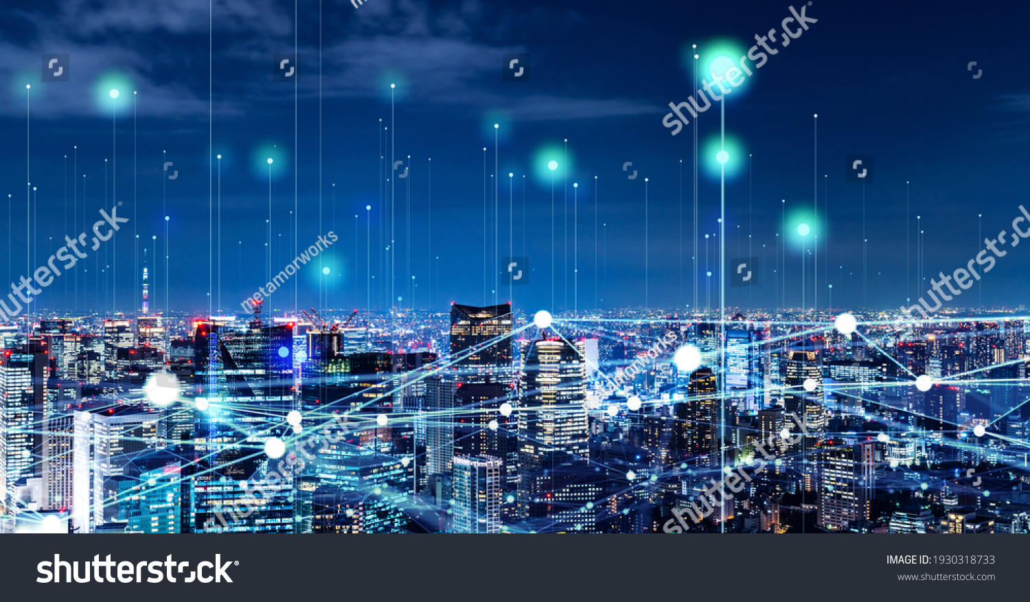 Modern cityscape and communication network concept. Telecommunication. IoT (Internet of Things). ICT (Information communication Technology). 5G. Smart city. Digital transformation. #1930318733
