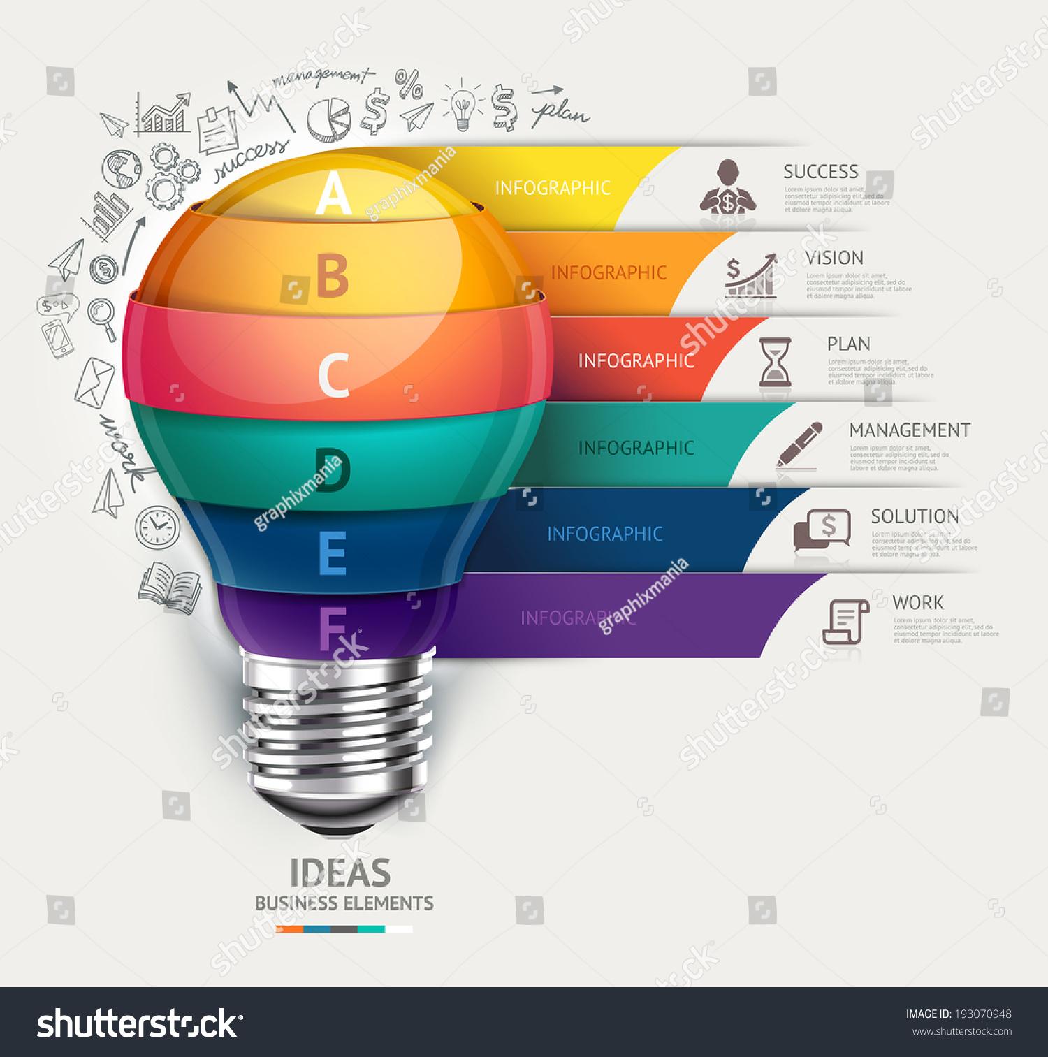 Business Concept Infographic Template Lightbulb Doodles Stock ...