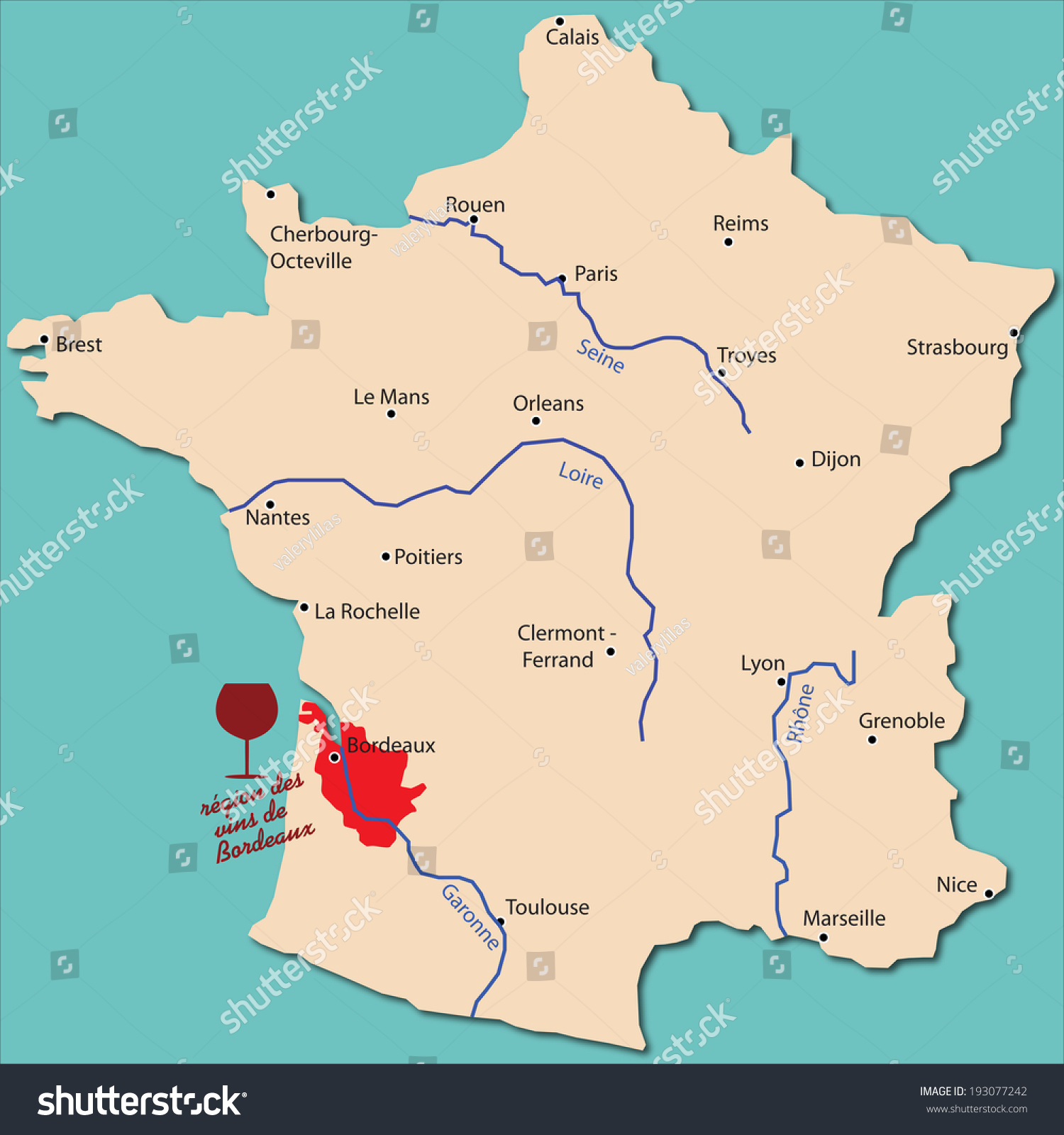 Bordeaux Map Of France.Map Wine Region Bordeaux France Stock Vector Royalty Free
