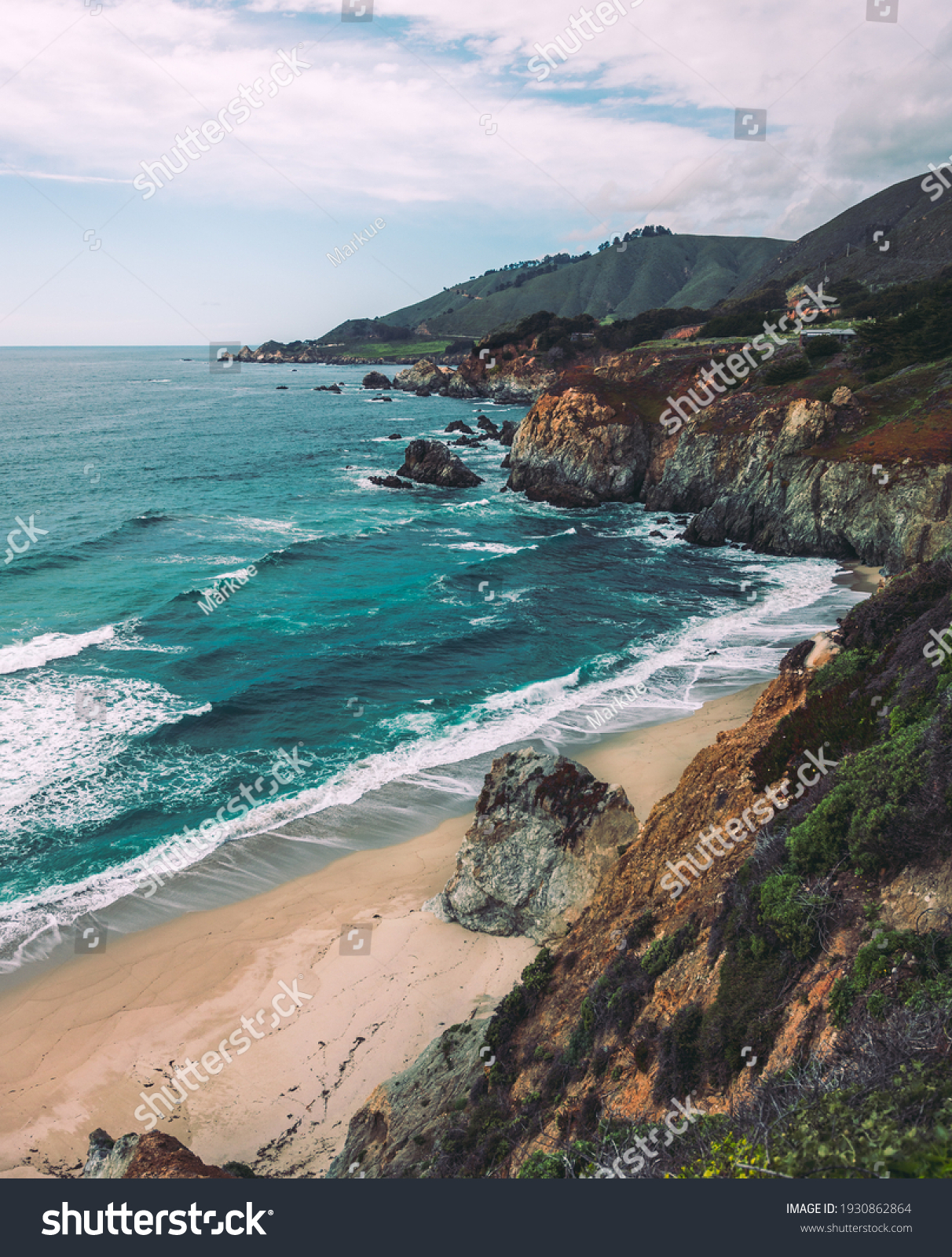 Pacific coastline, view from Highway number 1, California #1930862864