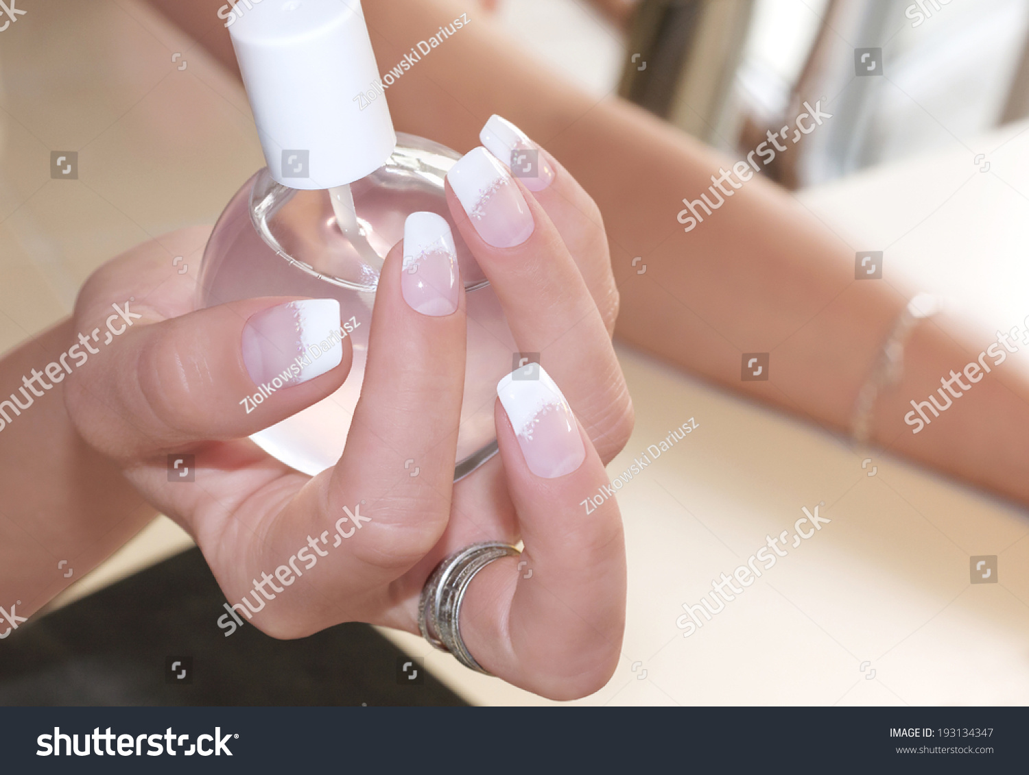 Beautiful Gel Nails Classic French Style Stock Photo (Royalty Free ...