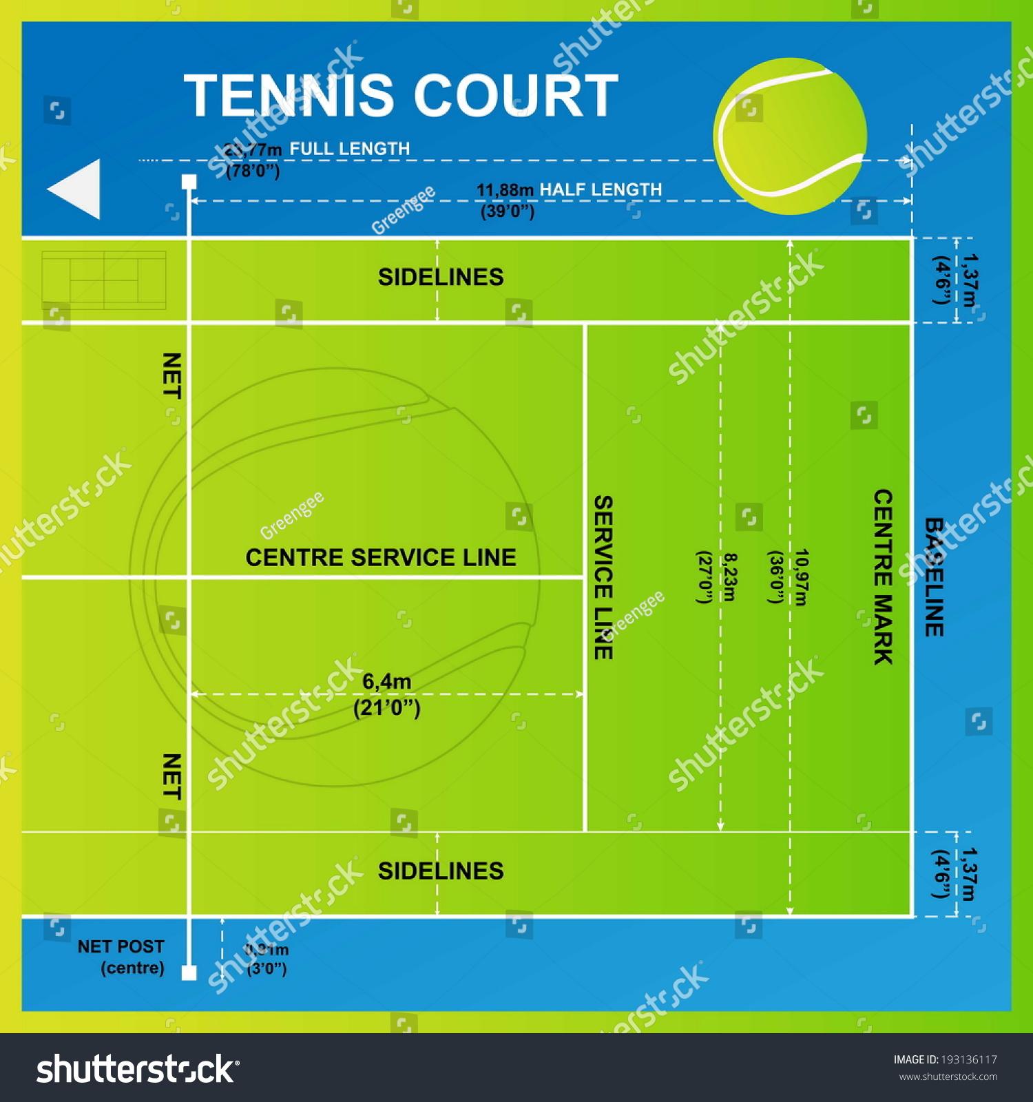 Tennis Court Yard Diagram Vector Stock-Vektorgrafik 193136117 ...