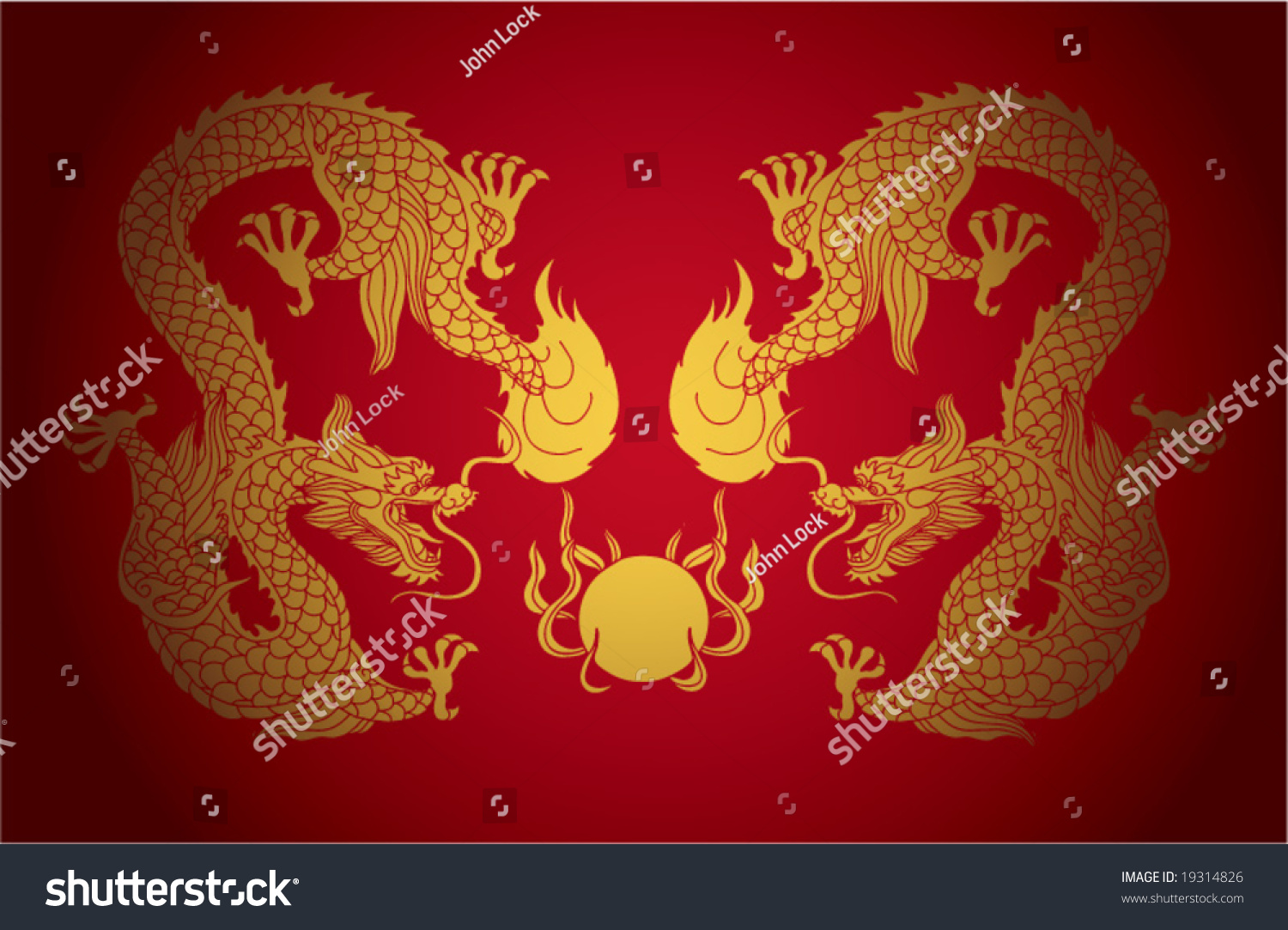 vector artistic chinese dragon pattern background stock vector
