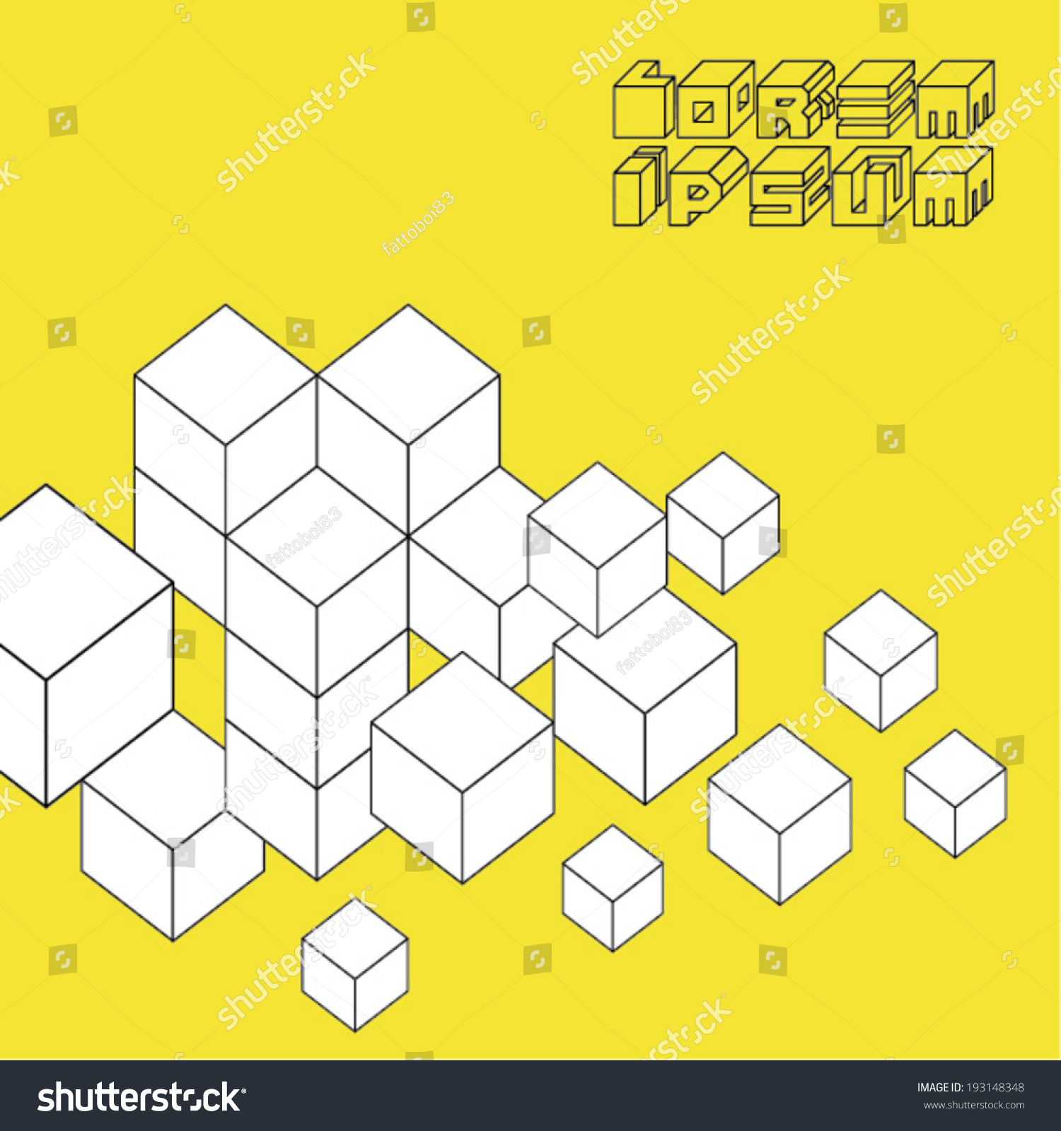 3 D Illusion Paper Cubes Template Stock Vector 193148348 - Shutterstock