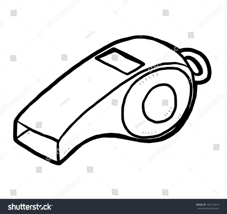 Whistle Cartoon Vector Illustration Black White Stock ...